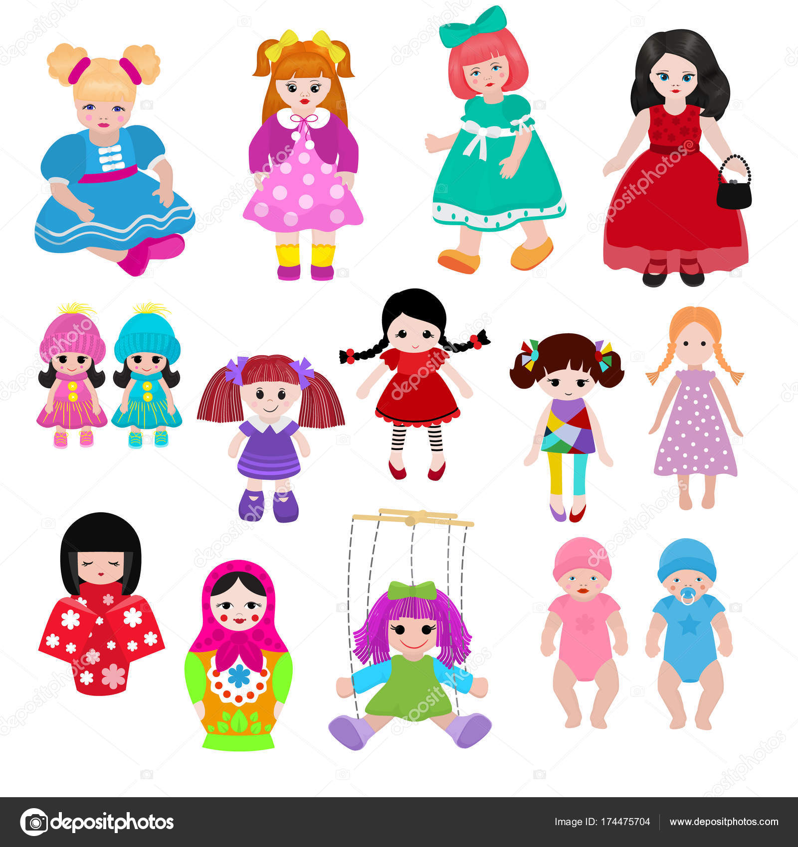Vector Doll Toy Cute Girl Female Set Illustration Childhood Baby