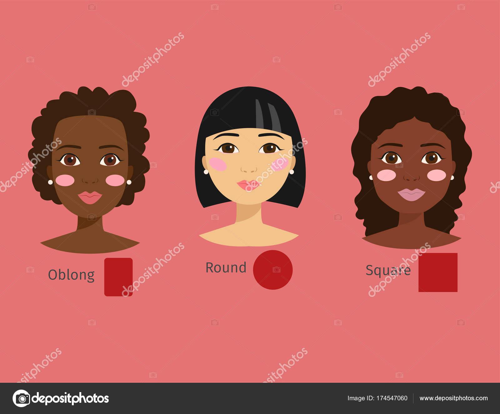 別の女の顔型ベクトル イラスト文字図形女の子化粧おしゃれ女性のセット