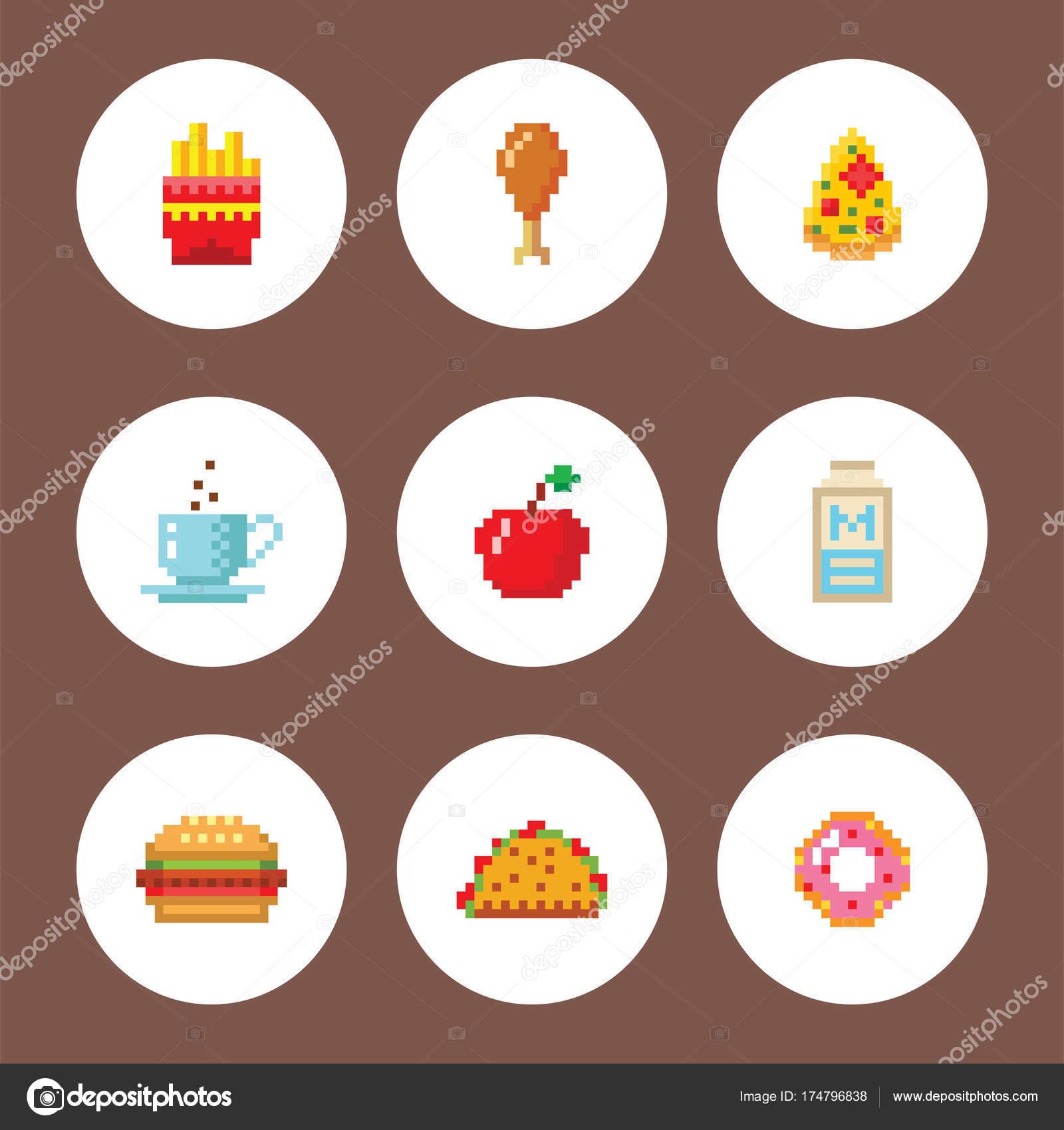 Pixel Art Food Computer Design Icons Vector Illustration
