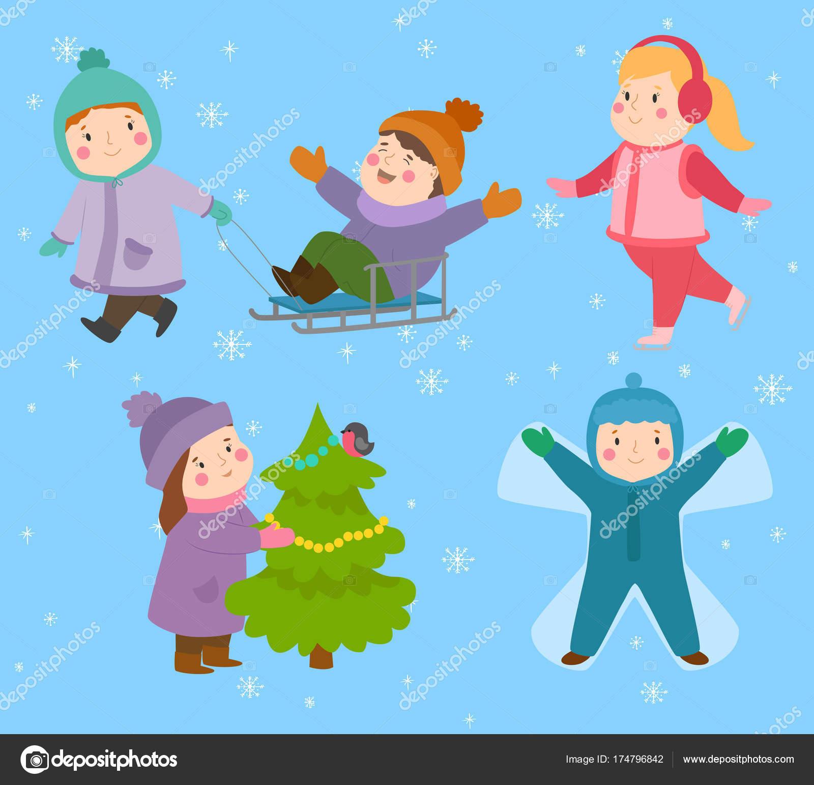 Kinderen winter kerst spelletjes Speeltuin kinderen spelen sport van  soorten sneeuwbal, schaatsen, kiddy vakantie