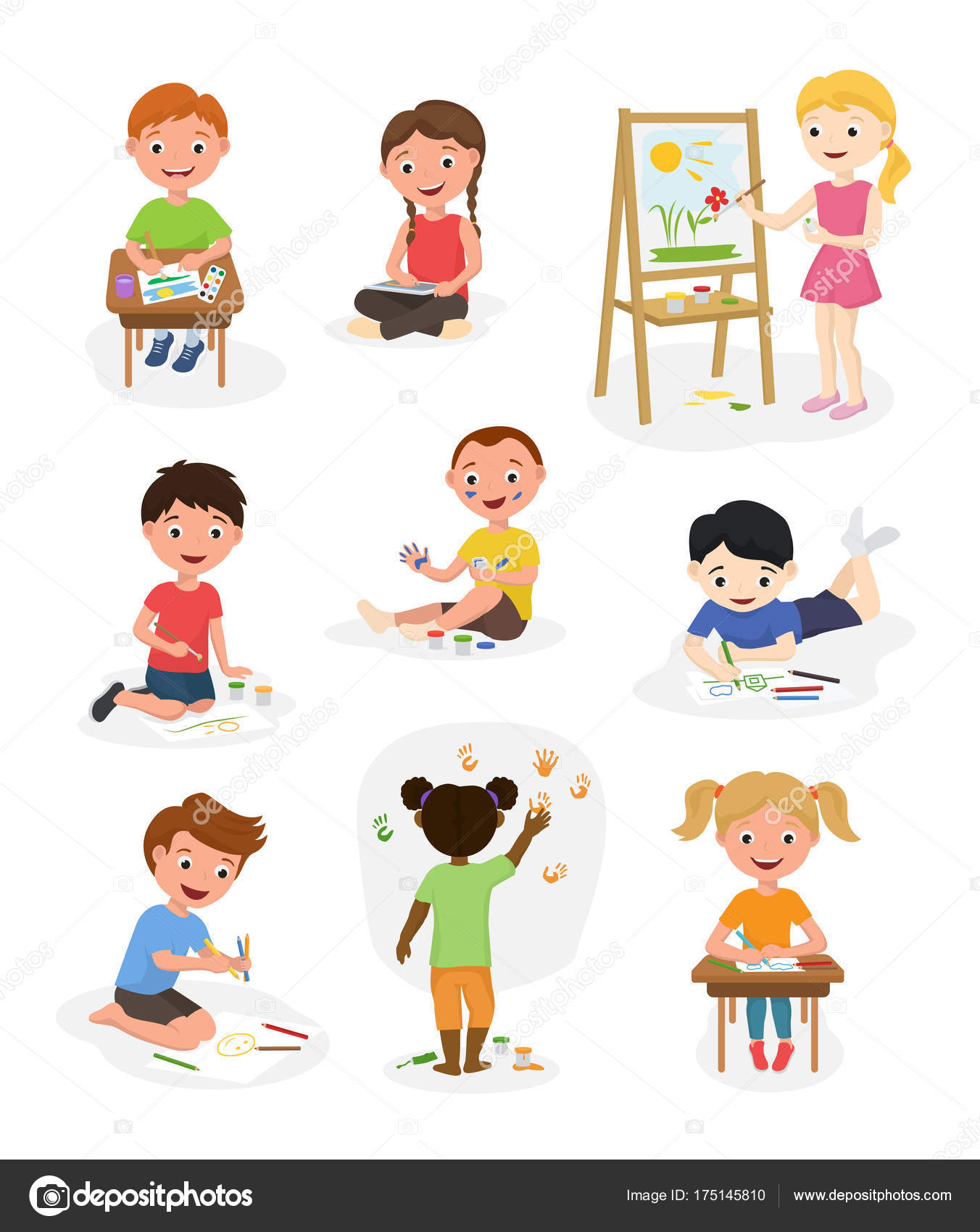 artist cute kids vector paint art child creative drawing artwork