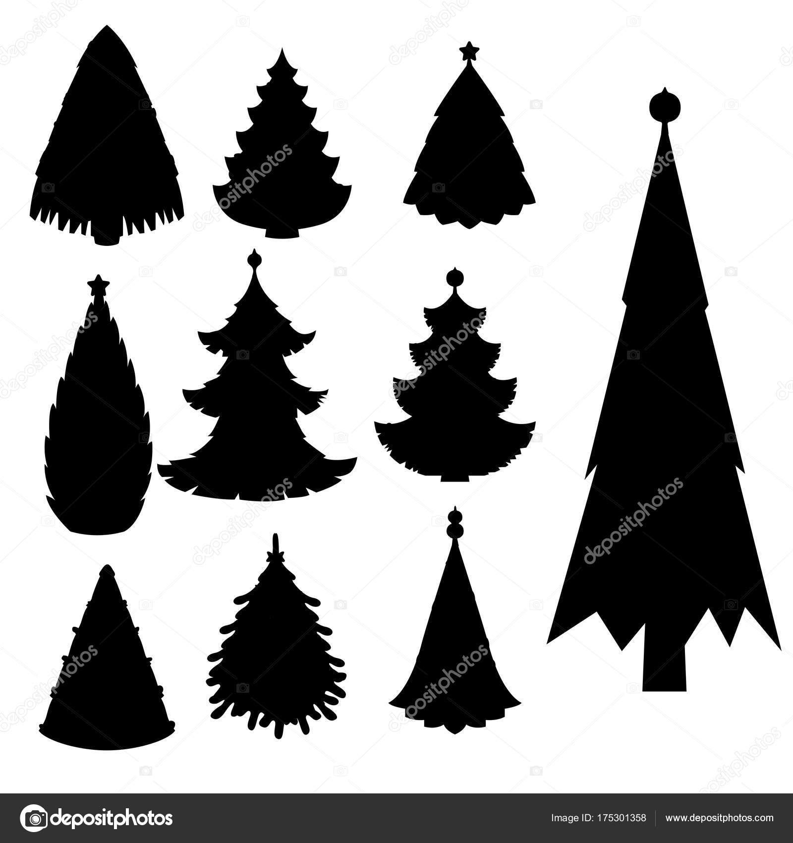 Christmas Tree Vector Black Silhouette Star Xmas Gift Design Holiday