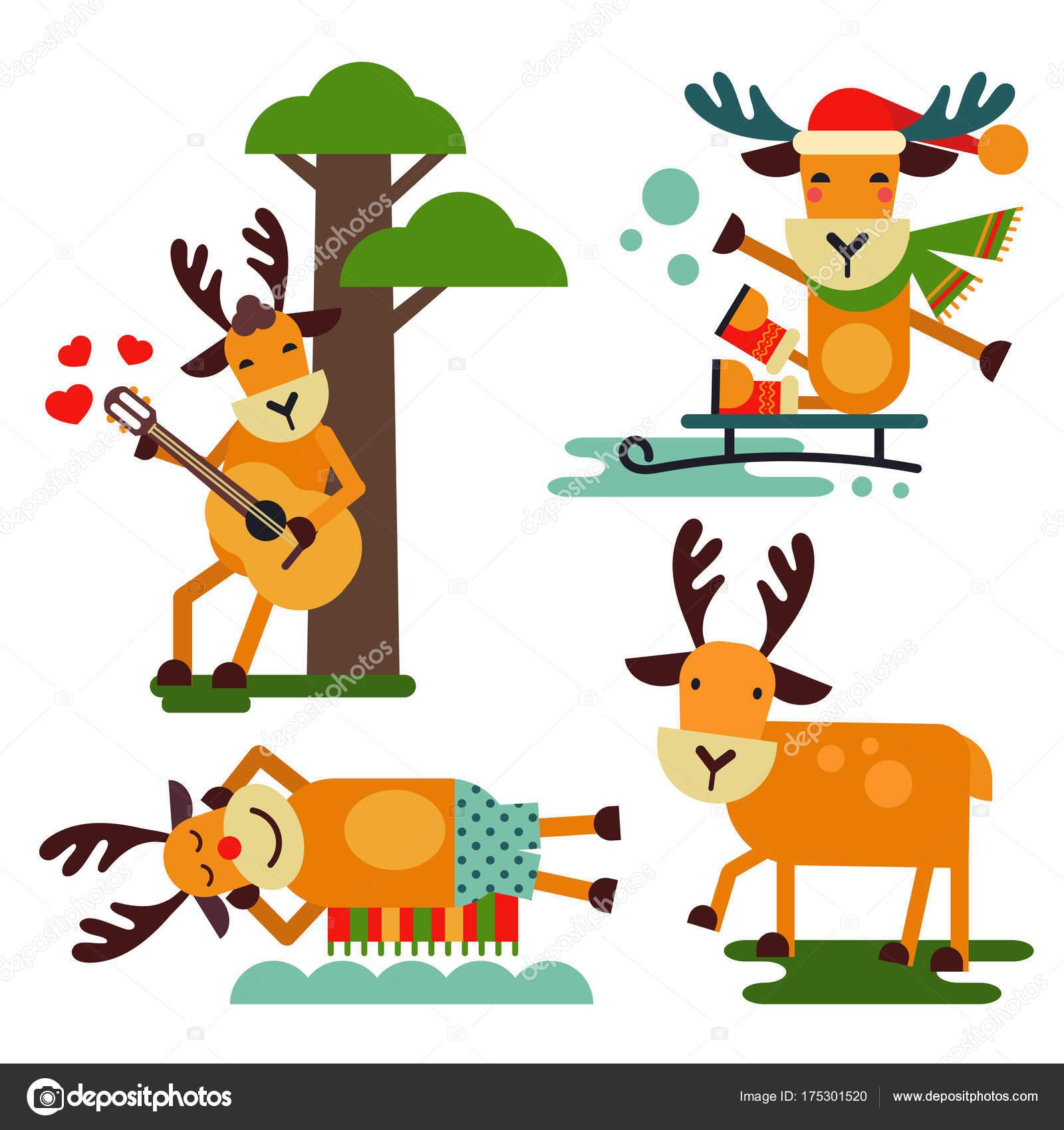 クリスマスのかわいいトナカイ サンタ クロース文字ベクトルそりのシカ