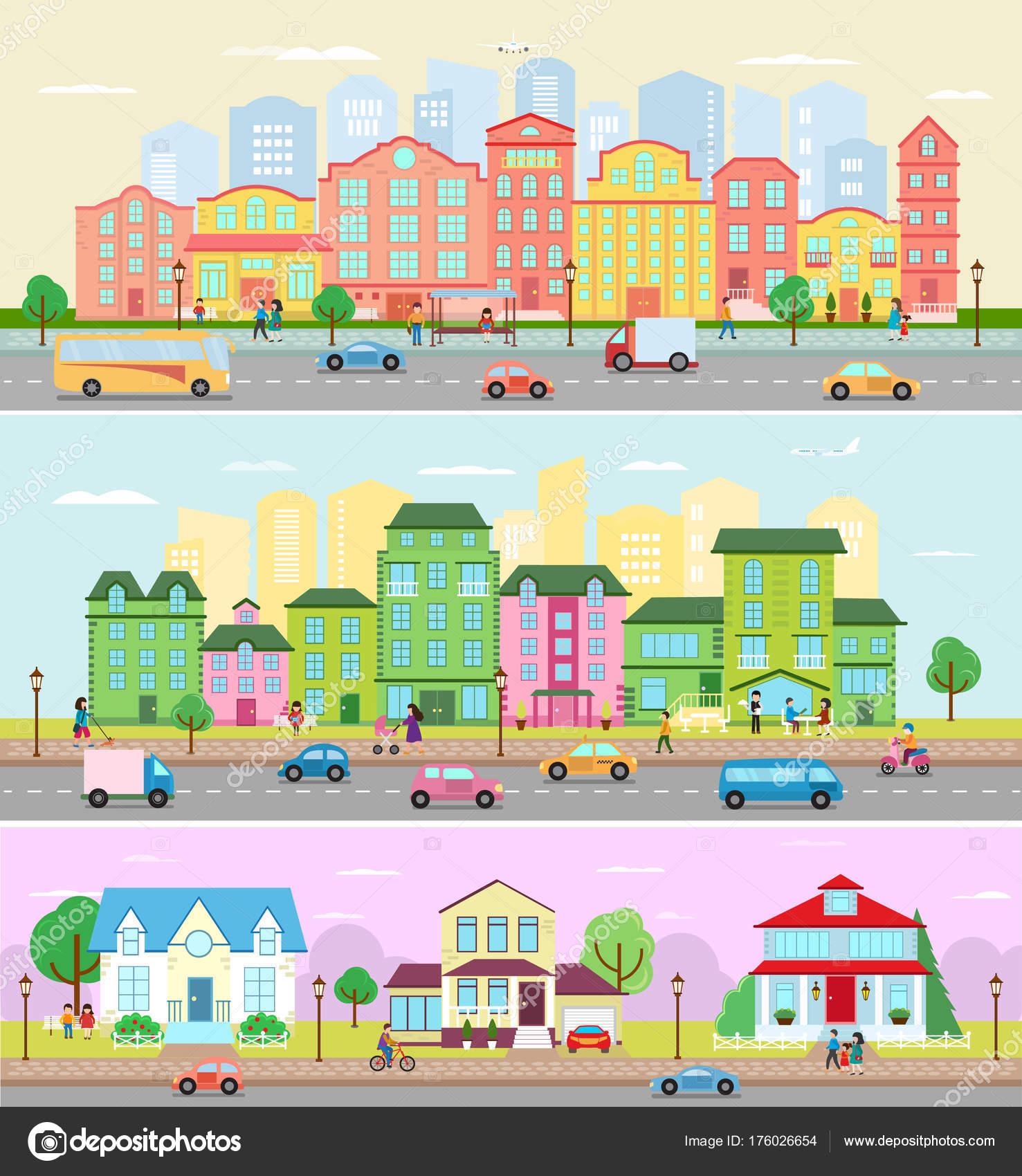 建物と住宅街 Downcity イラストの通りに都市風景ベクトル都市景観
