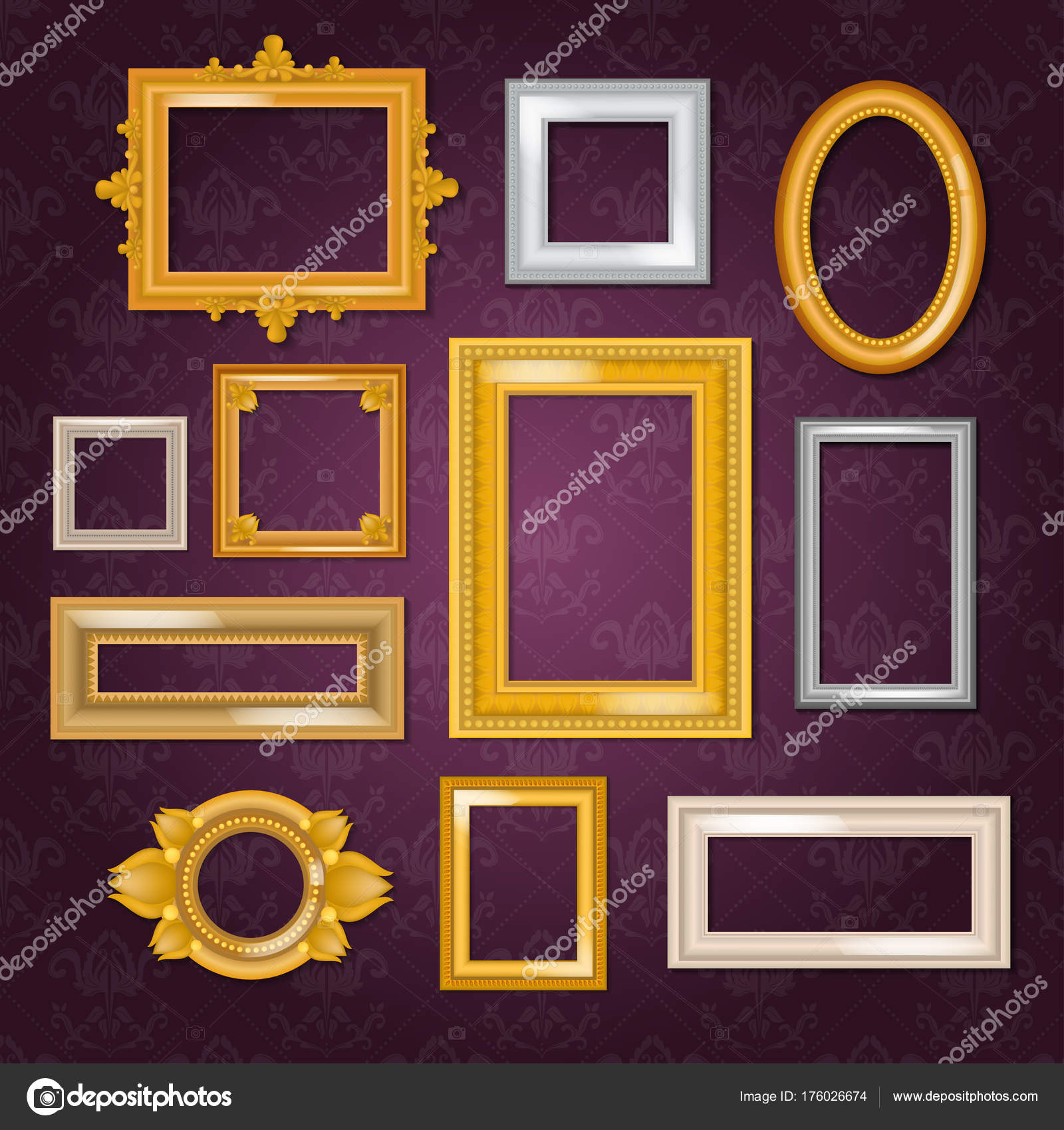 5fd0948d5583 Frames set vector blank picture framing in vintage gold framework on wall  illustration isolated on white background.