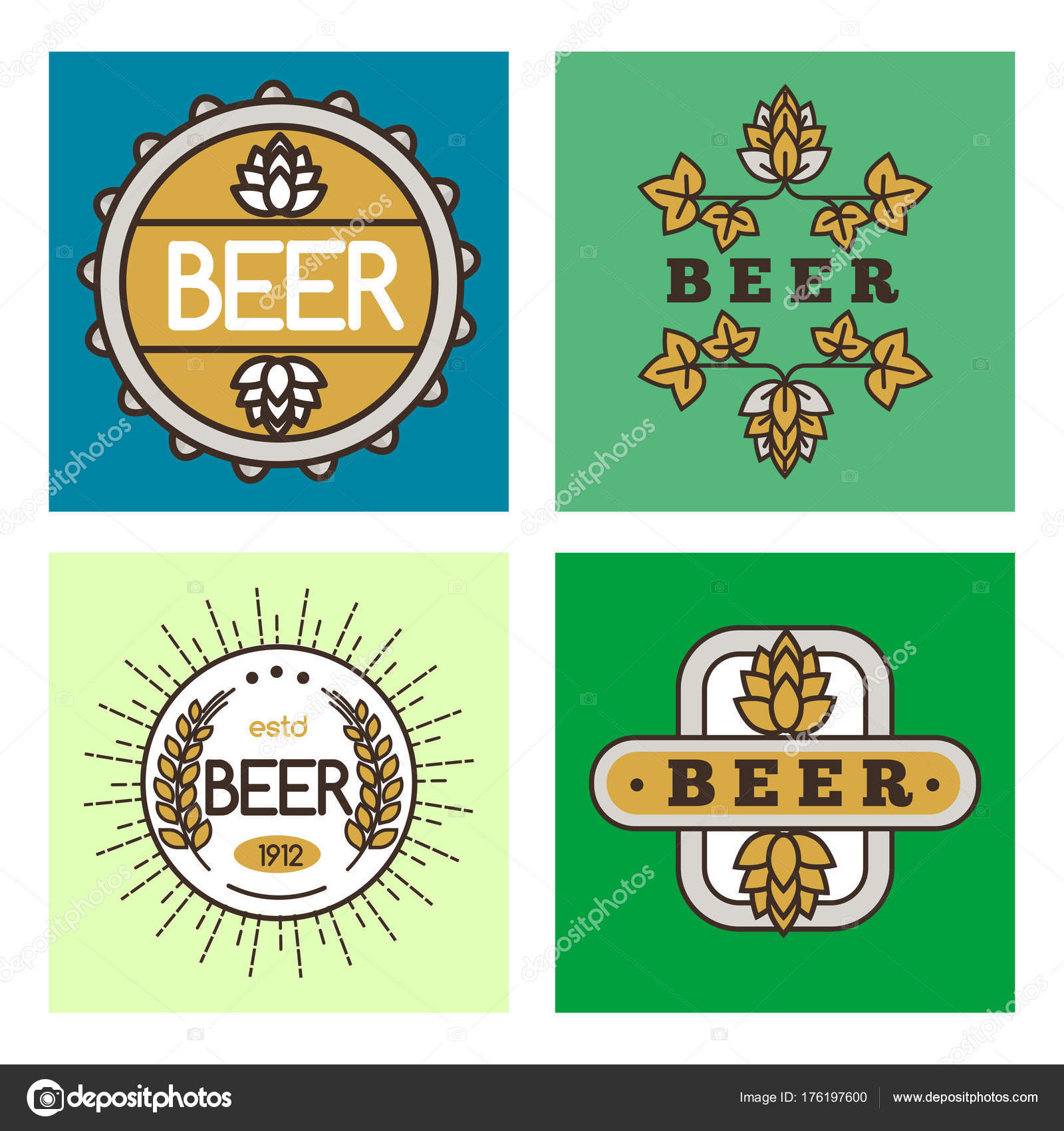 Vintage Craft Beer Retro Logo Badge Design Emblems Vector Icons Pub