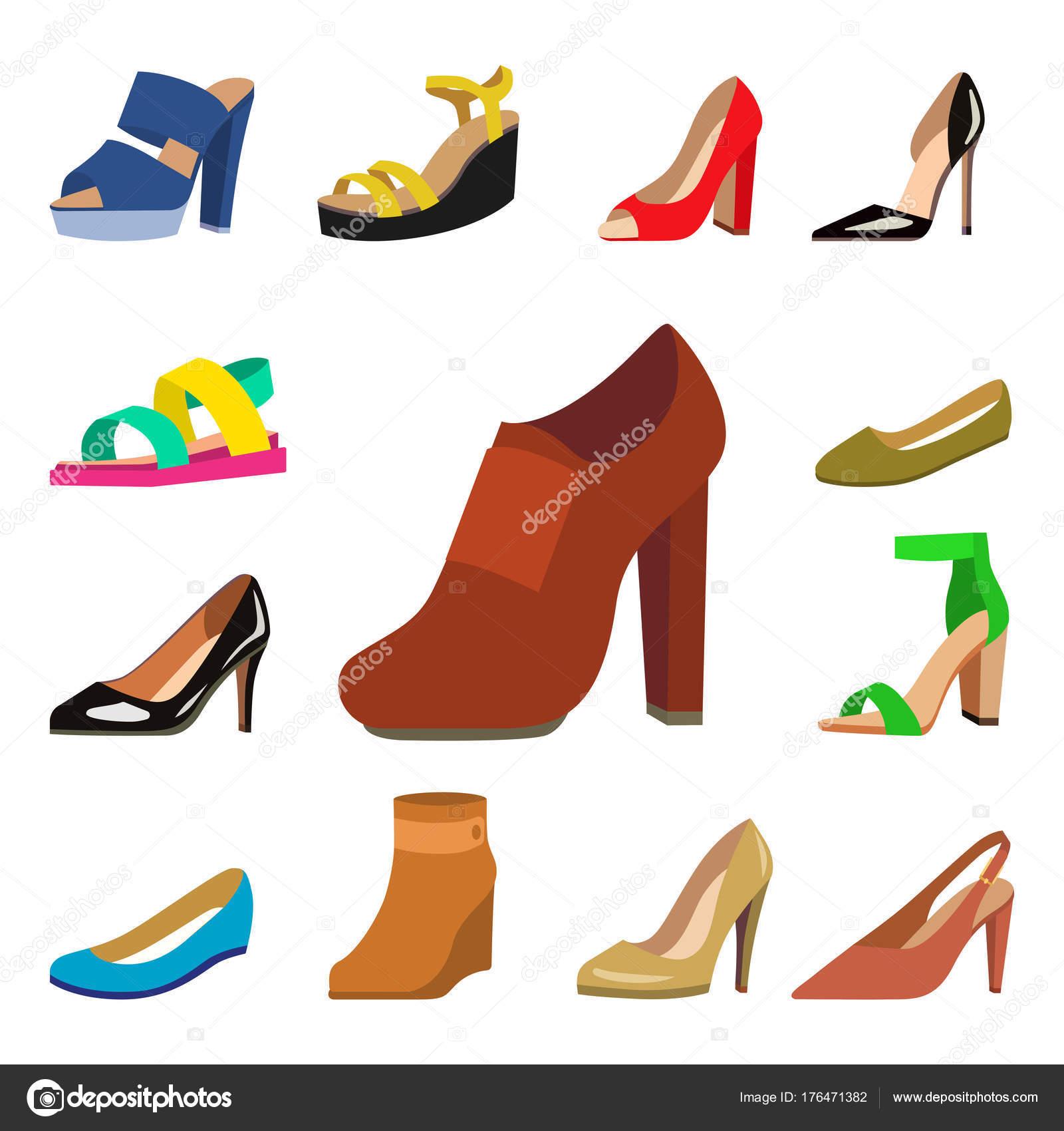 1a4809e0 Zapatos de mujer vector diseño de moda plano colección de cuero mocasines  de color ilustración de sandalias zapatos - ilustracion: moda zapatos —  Vector de ...