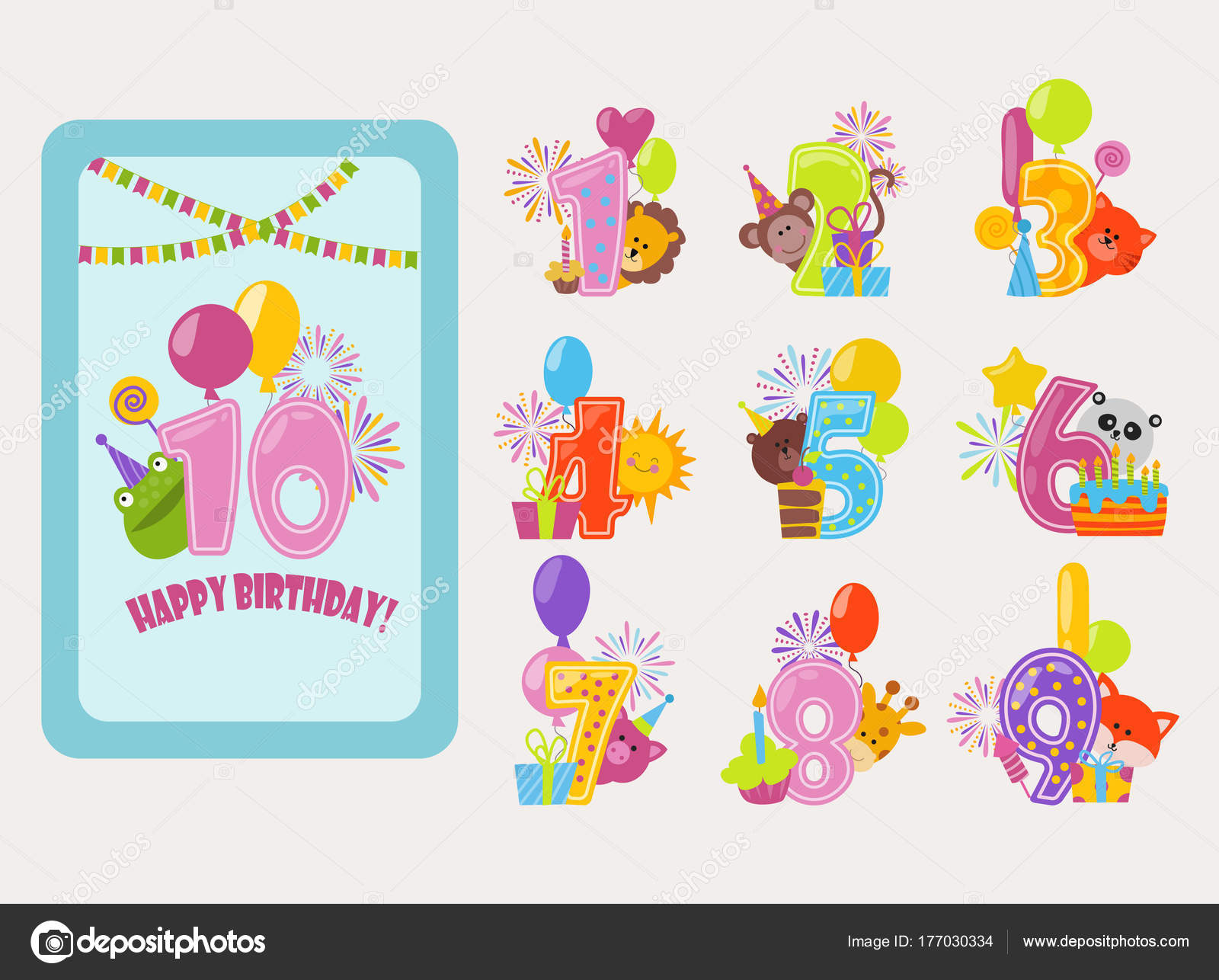 Geburtstag Zahlen Vektor Cartoon Geburtstag Geburt Ballon nummeriert ...