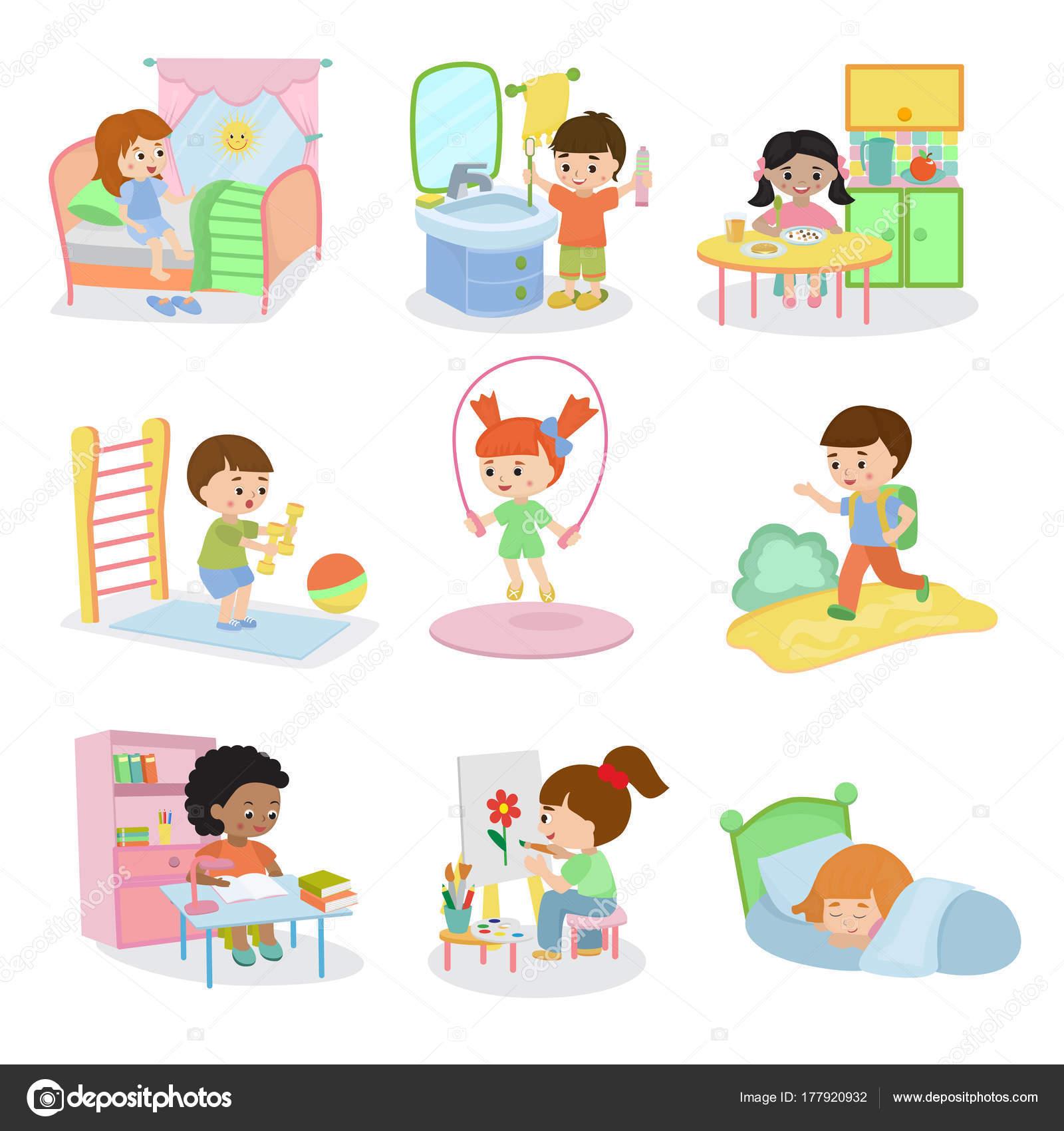 Atividades cotidianas de crianças vector conjunto crianças ...