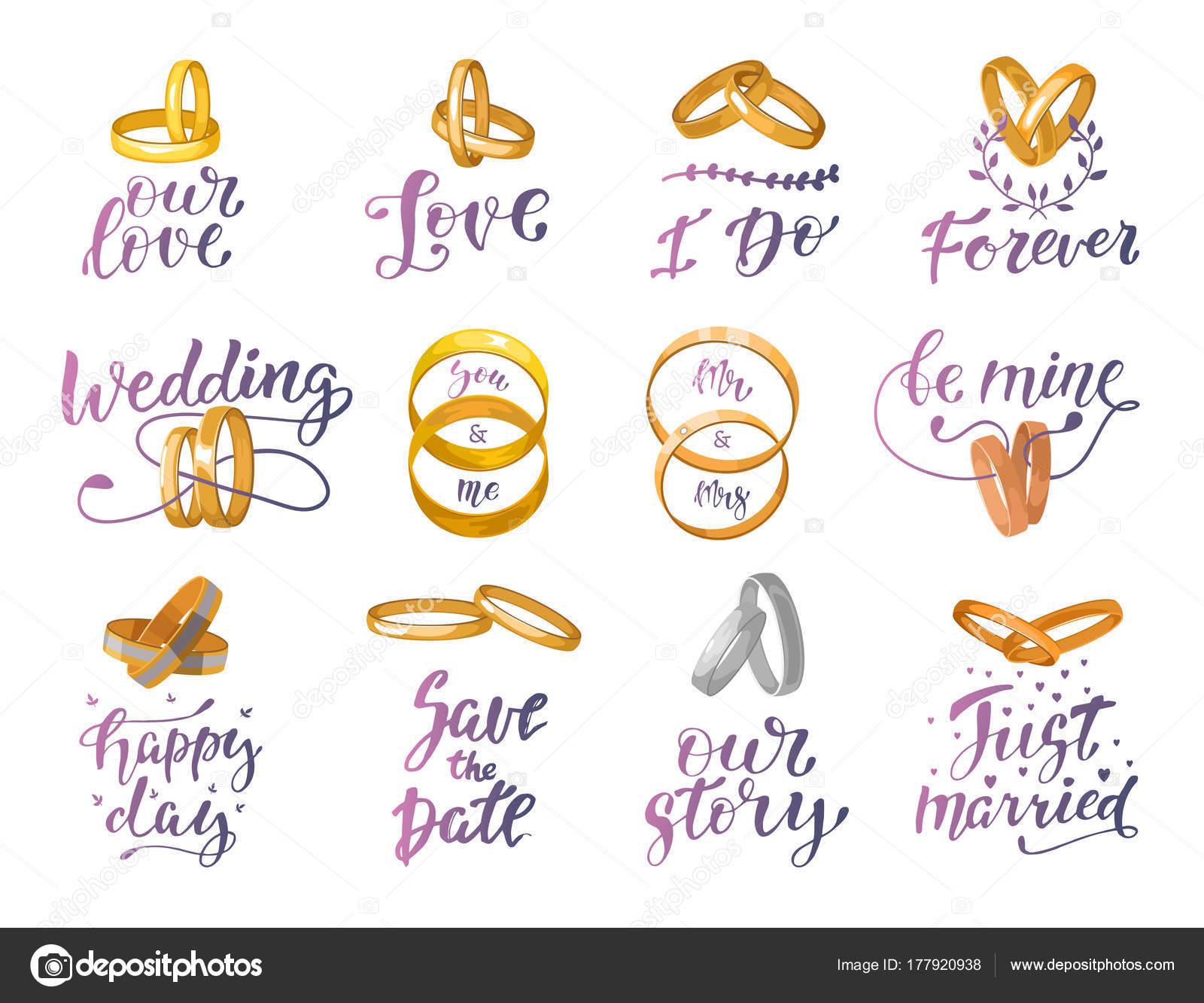Hochzeit Zeichen Und Ringe Zitat Text Vektor Oder Mi Schriftzug Mit