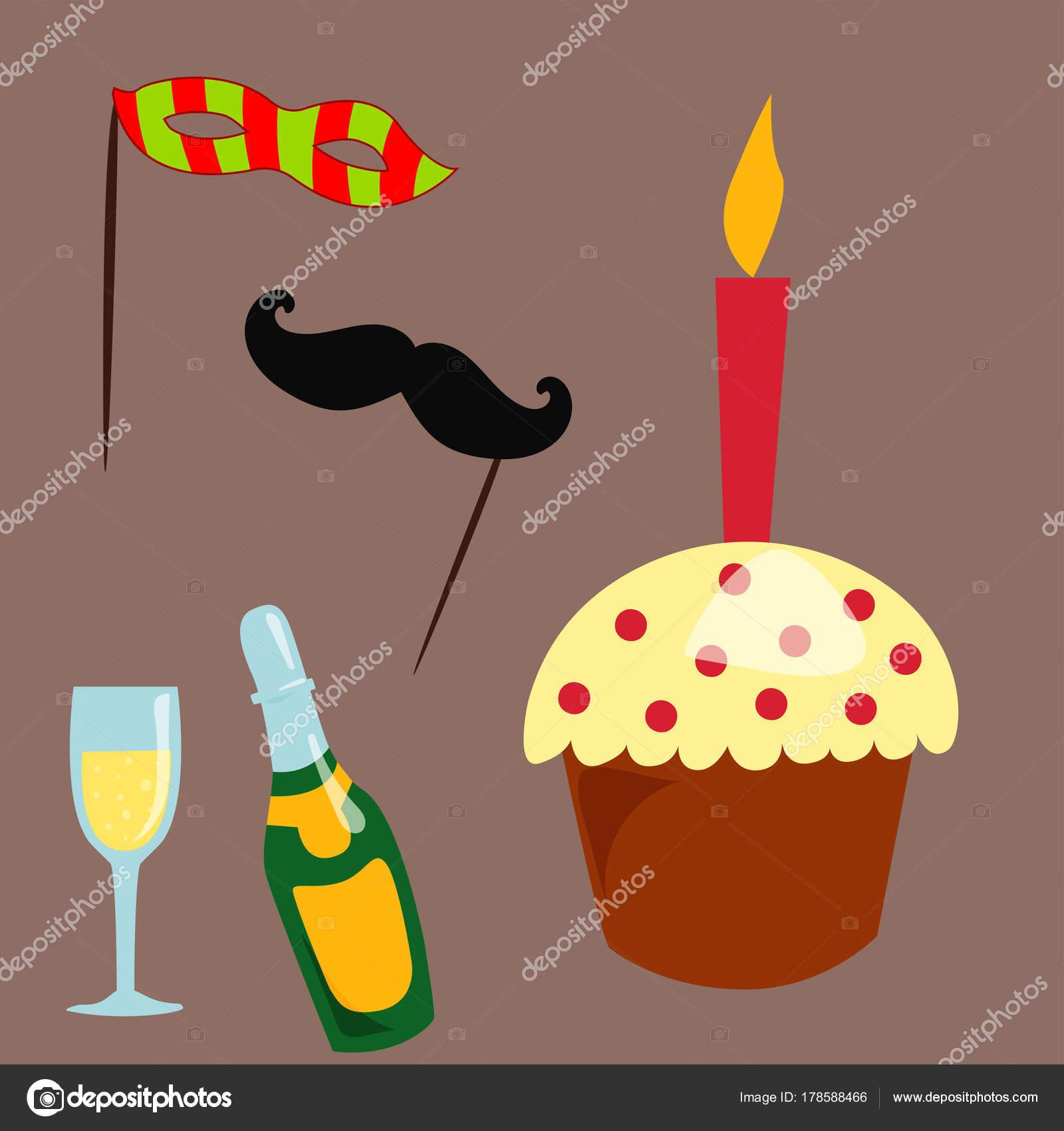 Party Pictogrammen Viering Gelukkige Verjaardag Verrassing Decoratie