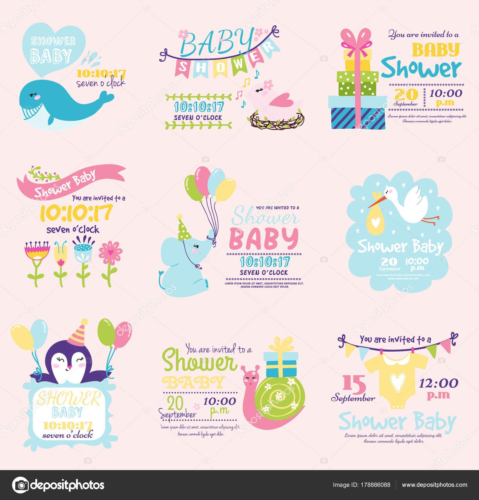 Baby Prysznic Zaproszenia Ozdoba Celebracja Strony Szablon Vintage