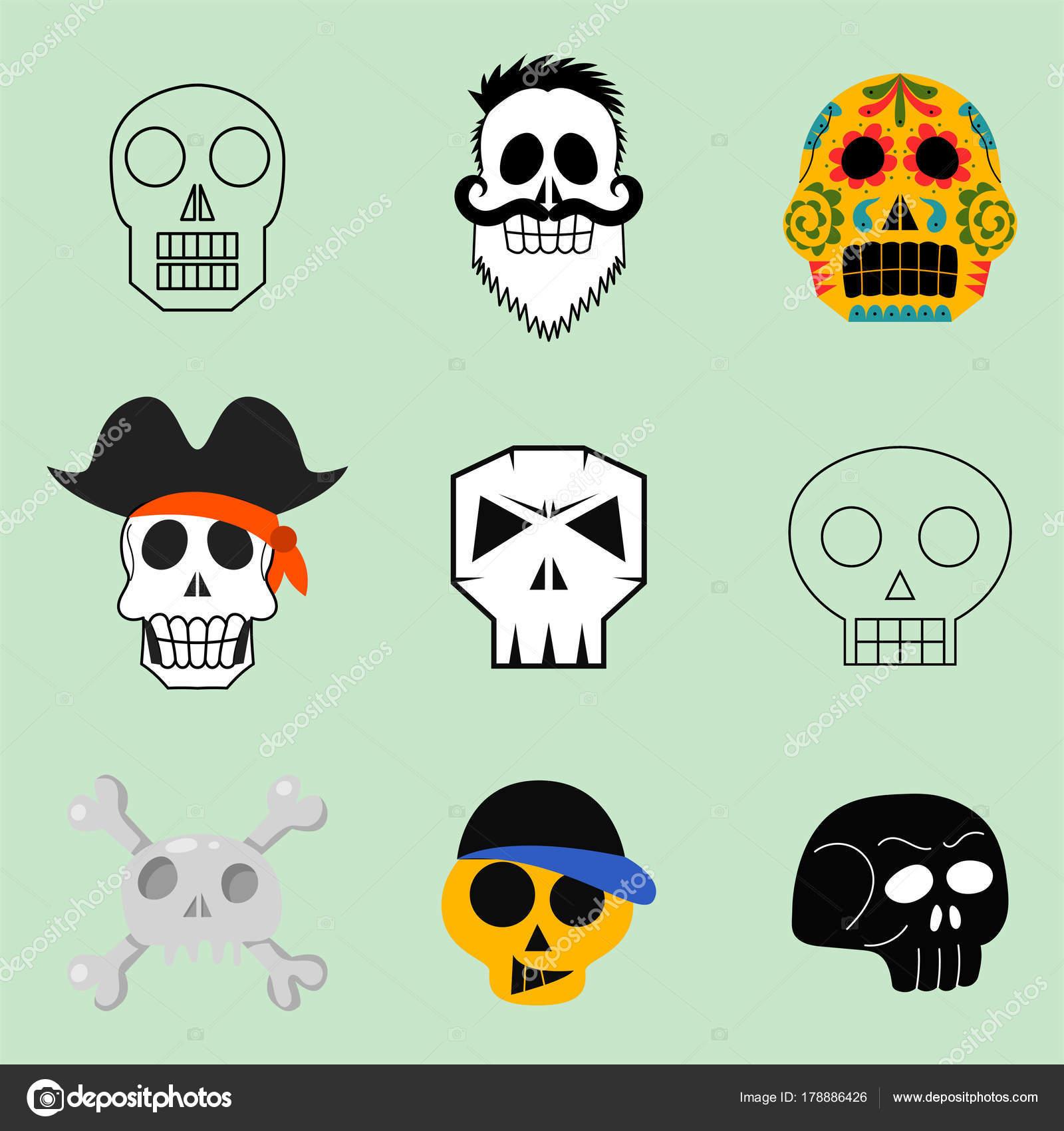 Diverso Estilo Calaveras Caras Vectoriales Ilustración Halloween