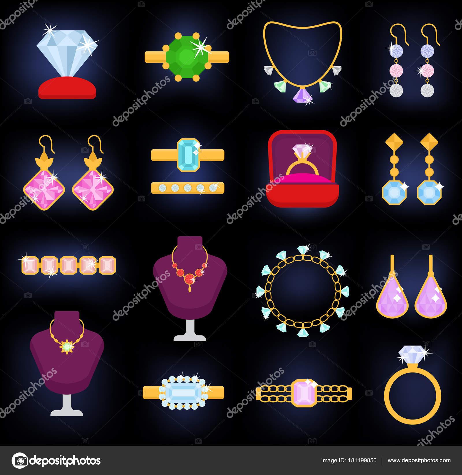 a3c9053cad89 Joyas vector joyería oro pulsera collar aretes y anillos de plata con  diamantes joya accesorios colgante conjunto ilustración aislada sobre fondo  blanco ...
