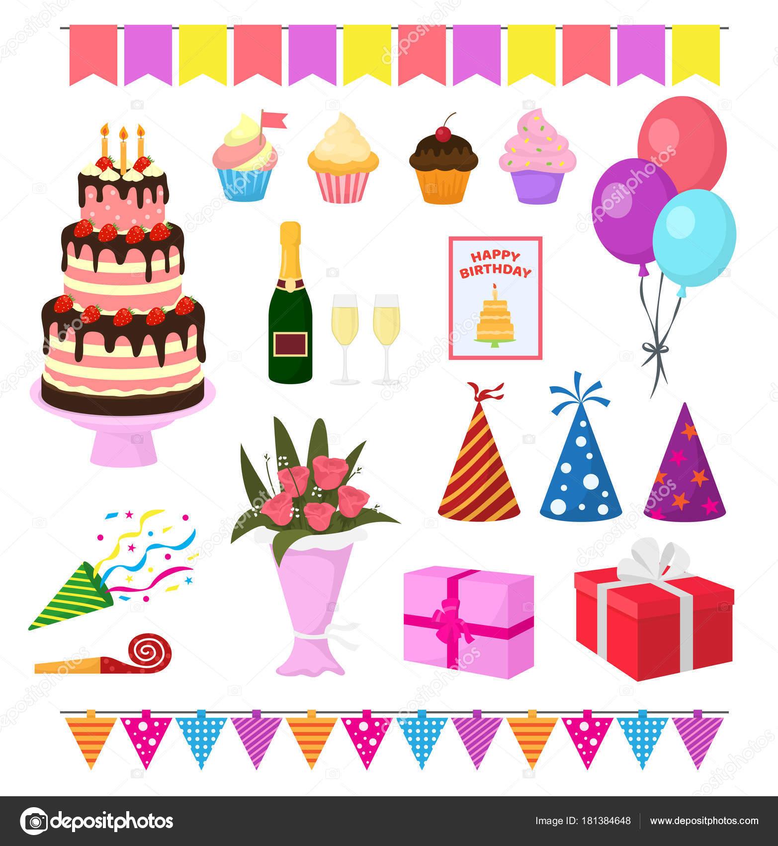 Birthday party vector anniversary cartoon kids happy birth cake or