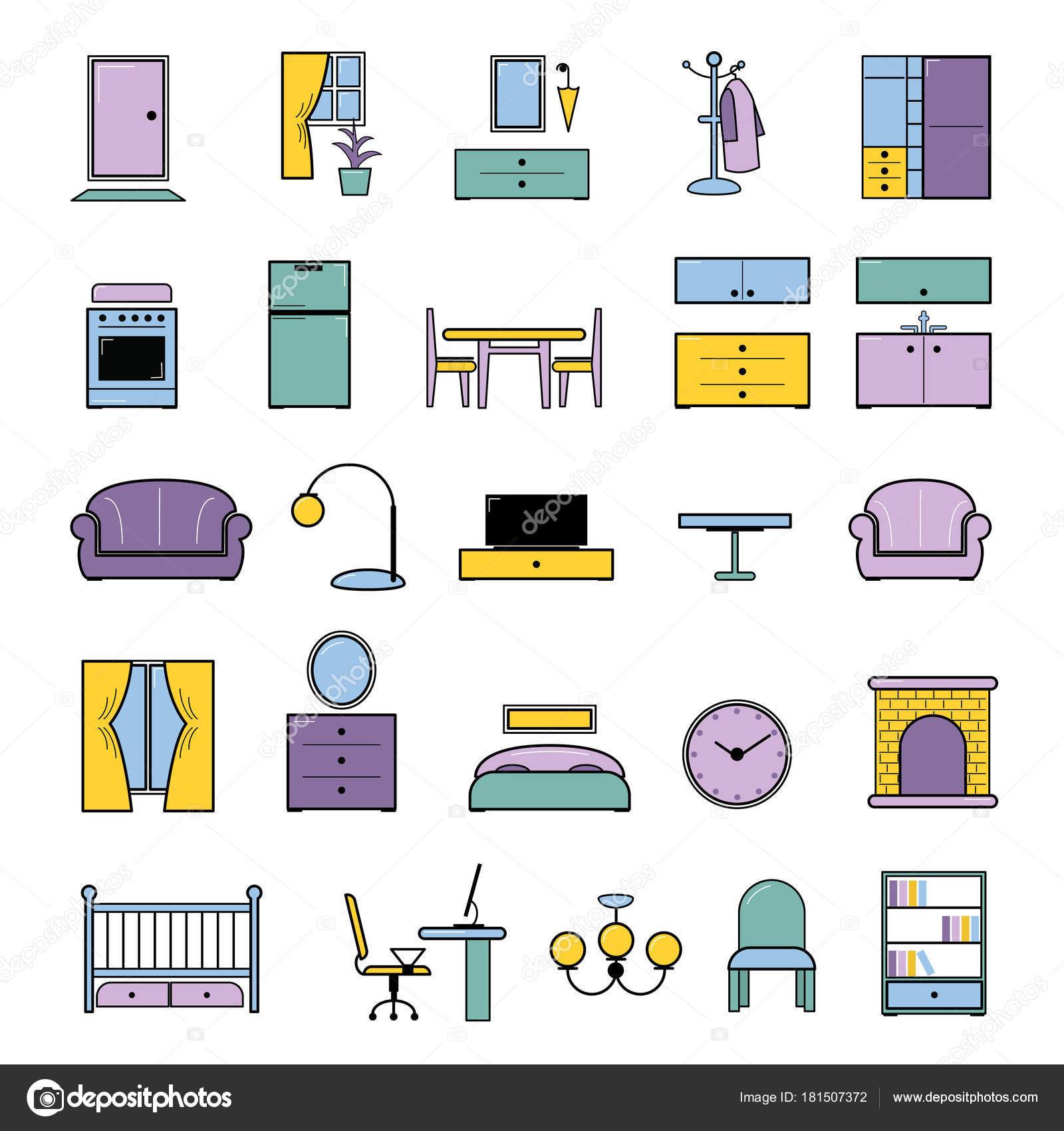 Nahtlose Muster Vektor Möbel Möbeldesign im Inneren des Schlaf- oder ...