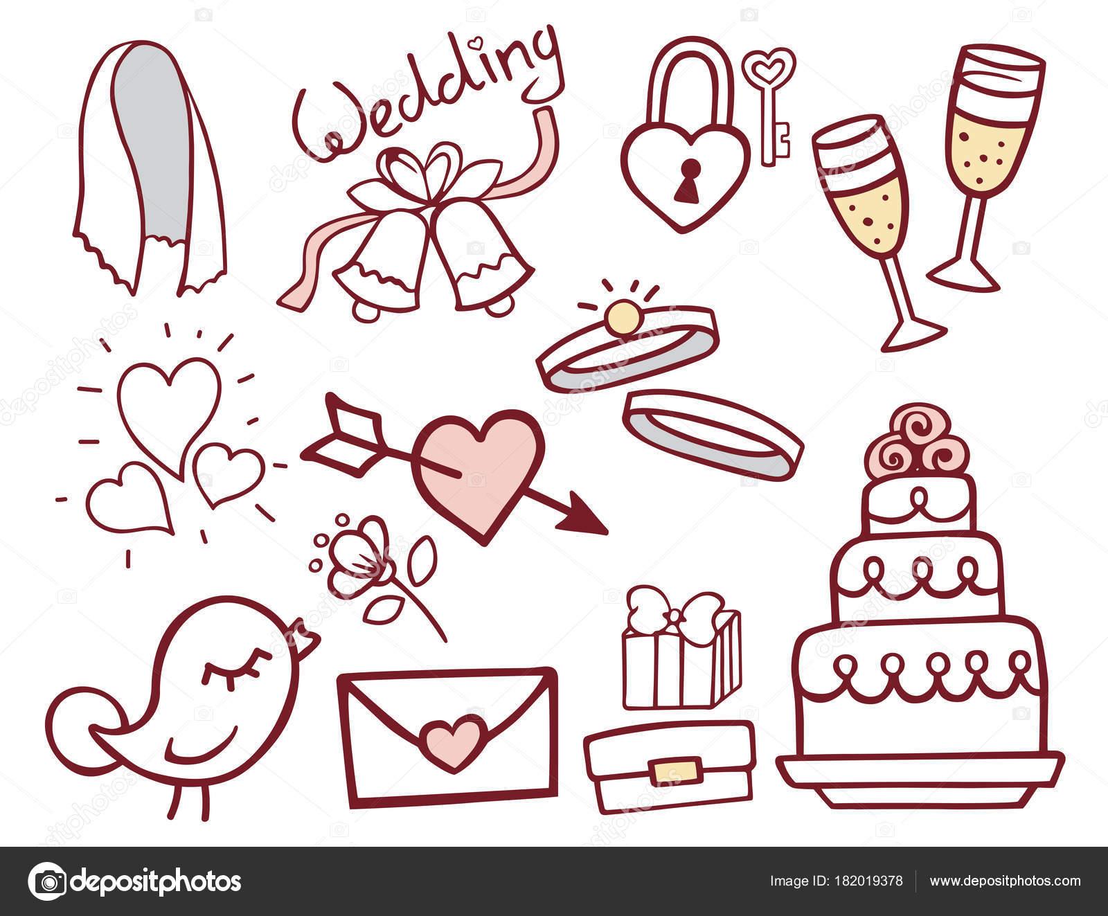 Wedding outline hand drawn icons vector illustration married wedding outline hand drawn icons vector illustration married celebration music groom invitation elements stock stopboris Gallery