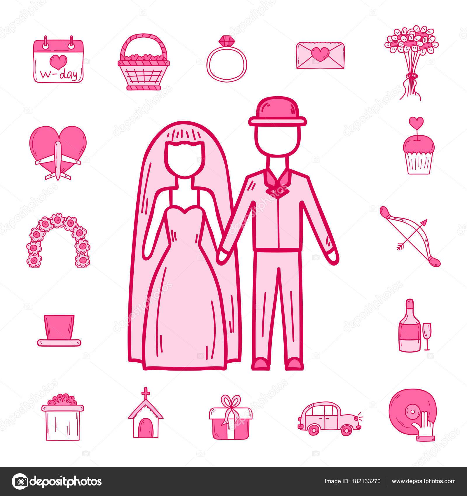 Contorno de boda matrimonio compromiso novio novia iconos vector ...
