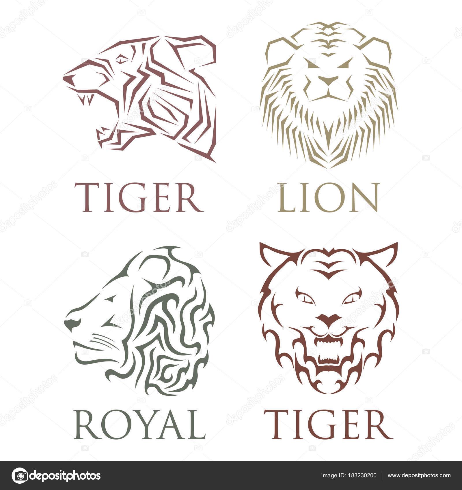 美しい動物のベクトルとタイガー ヘッド ロイヤル バッジ手描かれた
