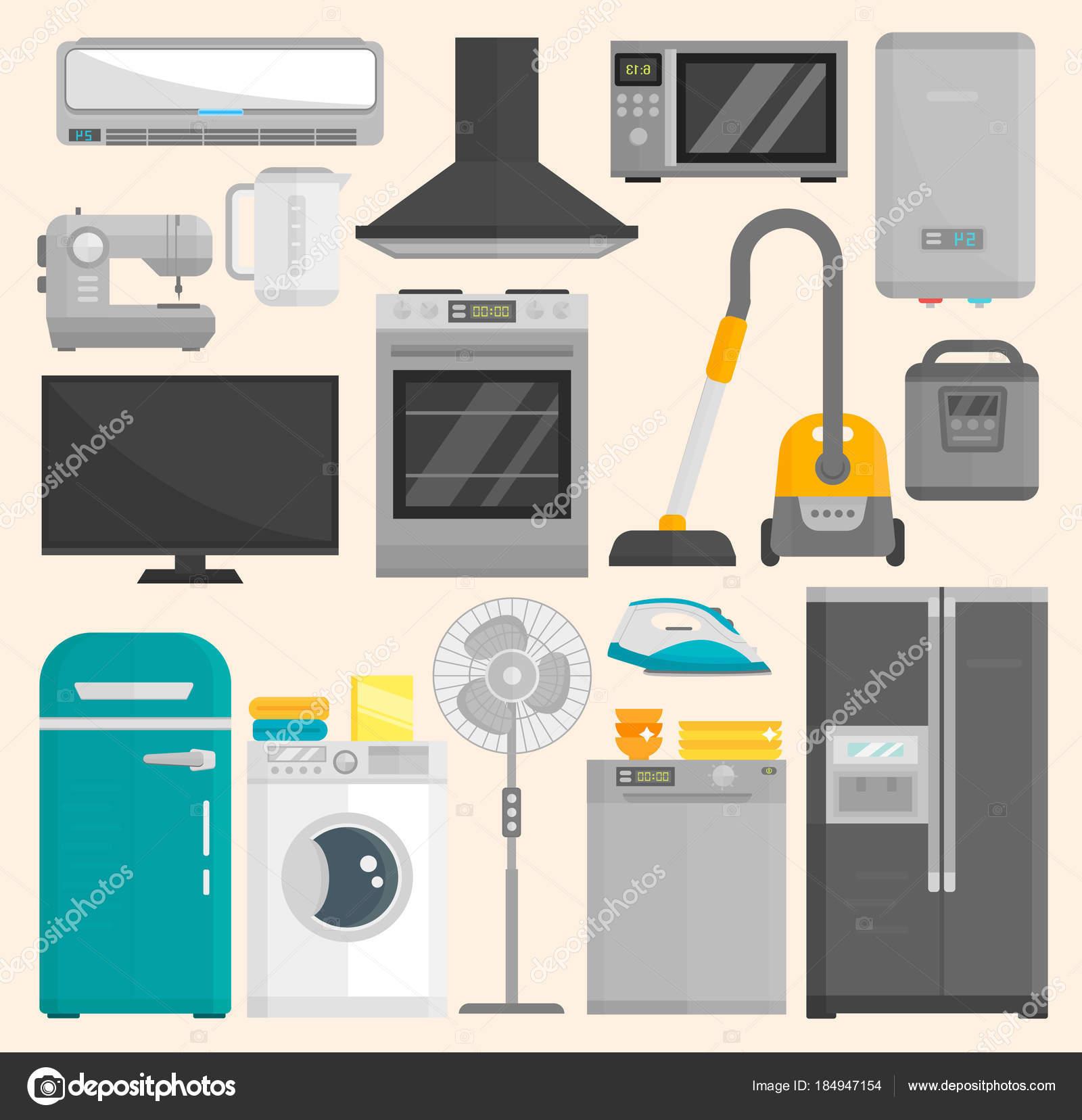 Gruppe von Haushaltsgeräten isoliert auf weißem Hintergrund. Küche ...