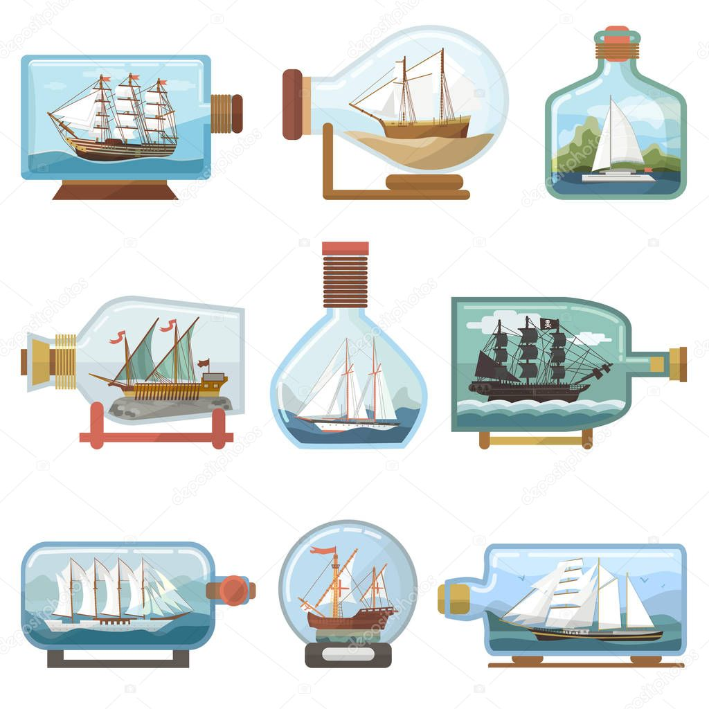 Vector ship in bottle boat in miniature sailboat souvenir in glass jar with cork shipping ouvenir in flask isolated on white background