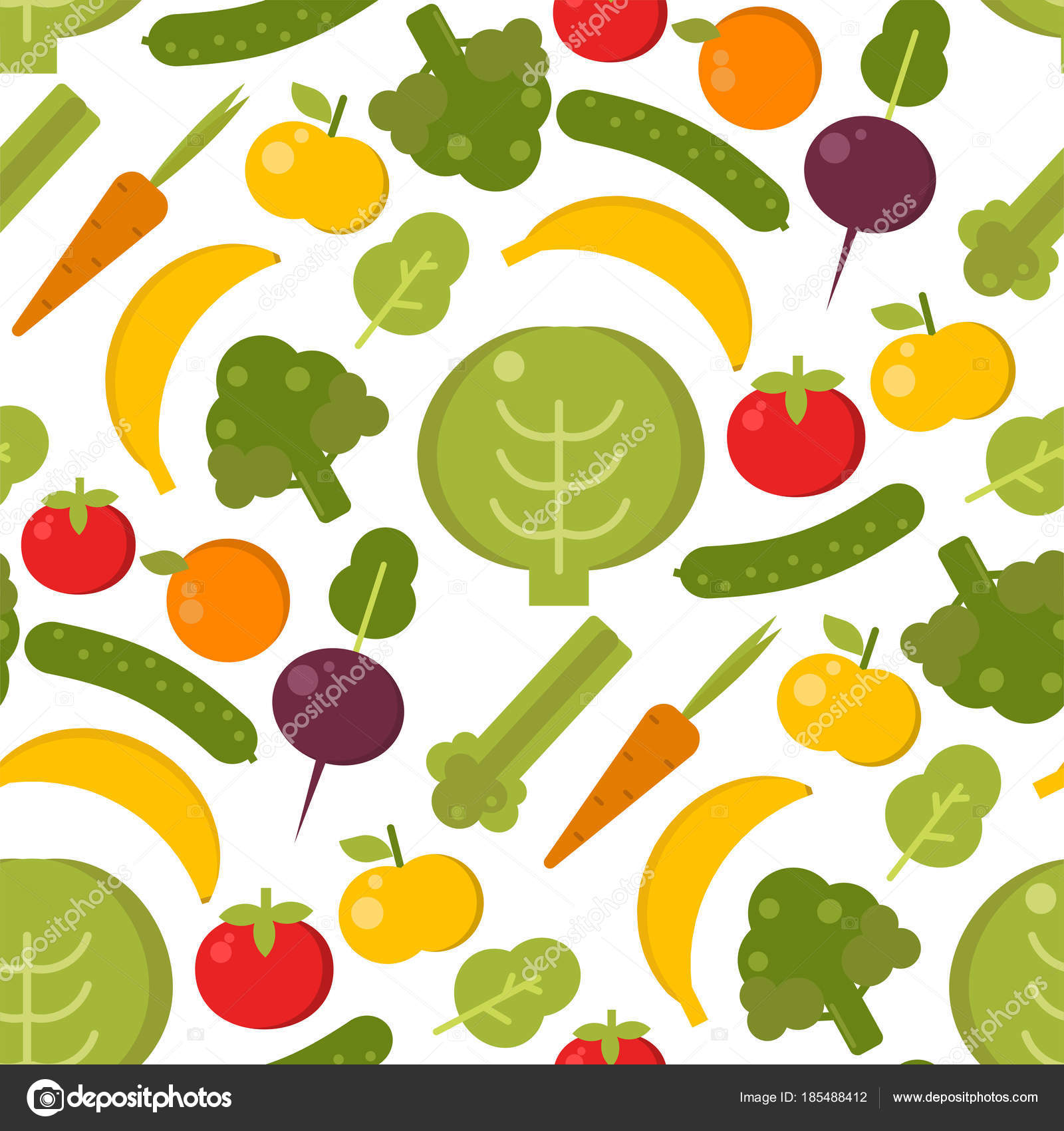 Ilustracja Wektorowa Warzywa Zdrowe Jedzenie Bez Szwu Wzor