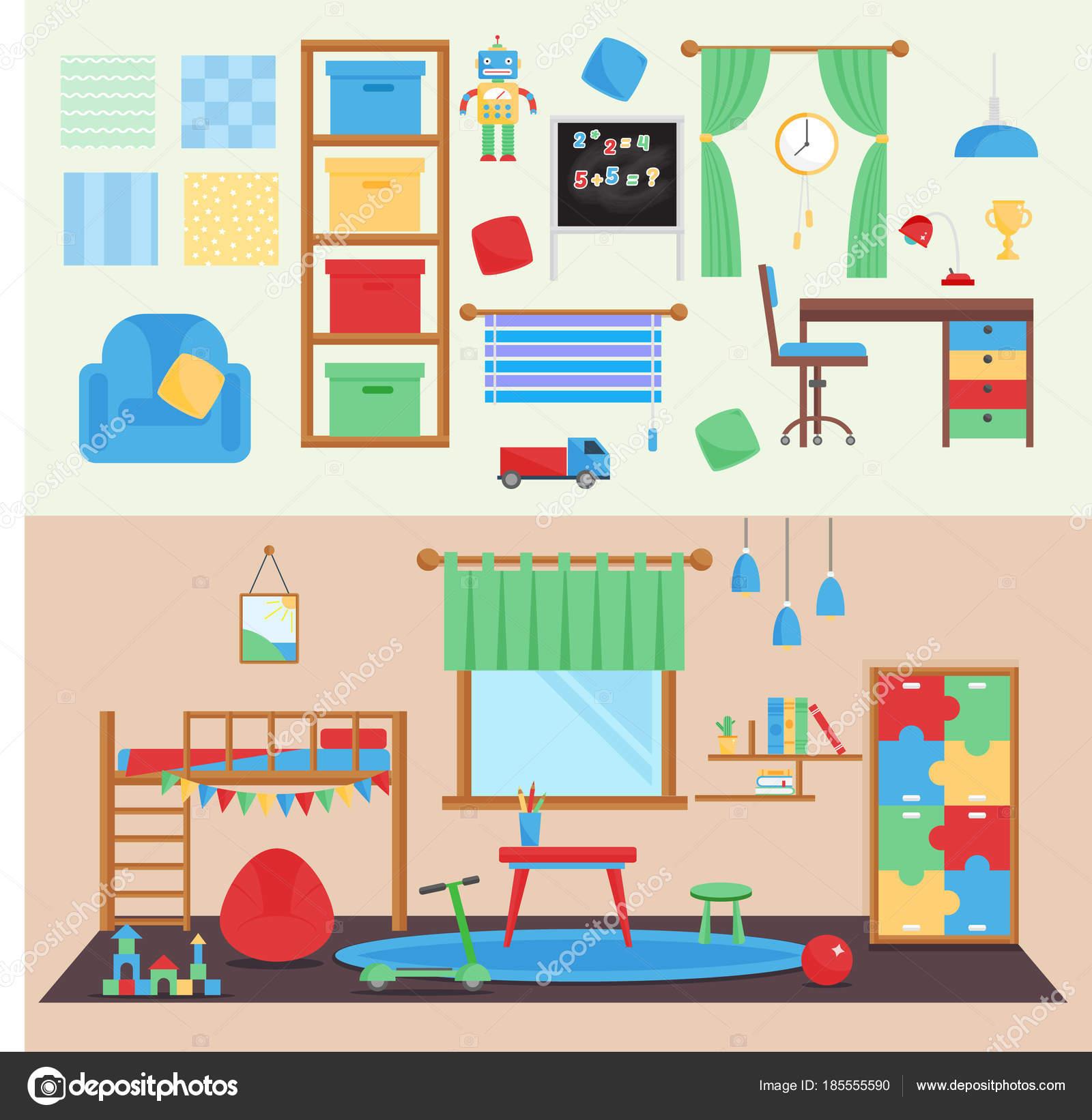 Vista horizontal bebé acogedora habitación decoración vector niños ...