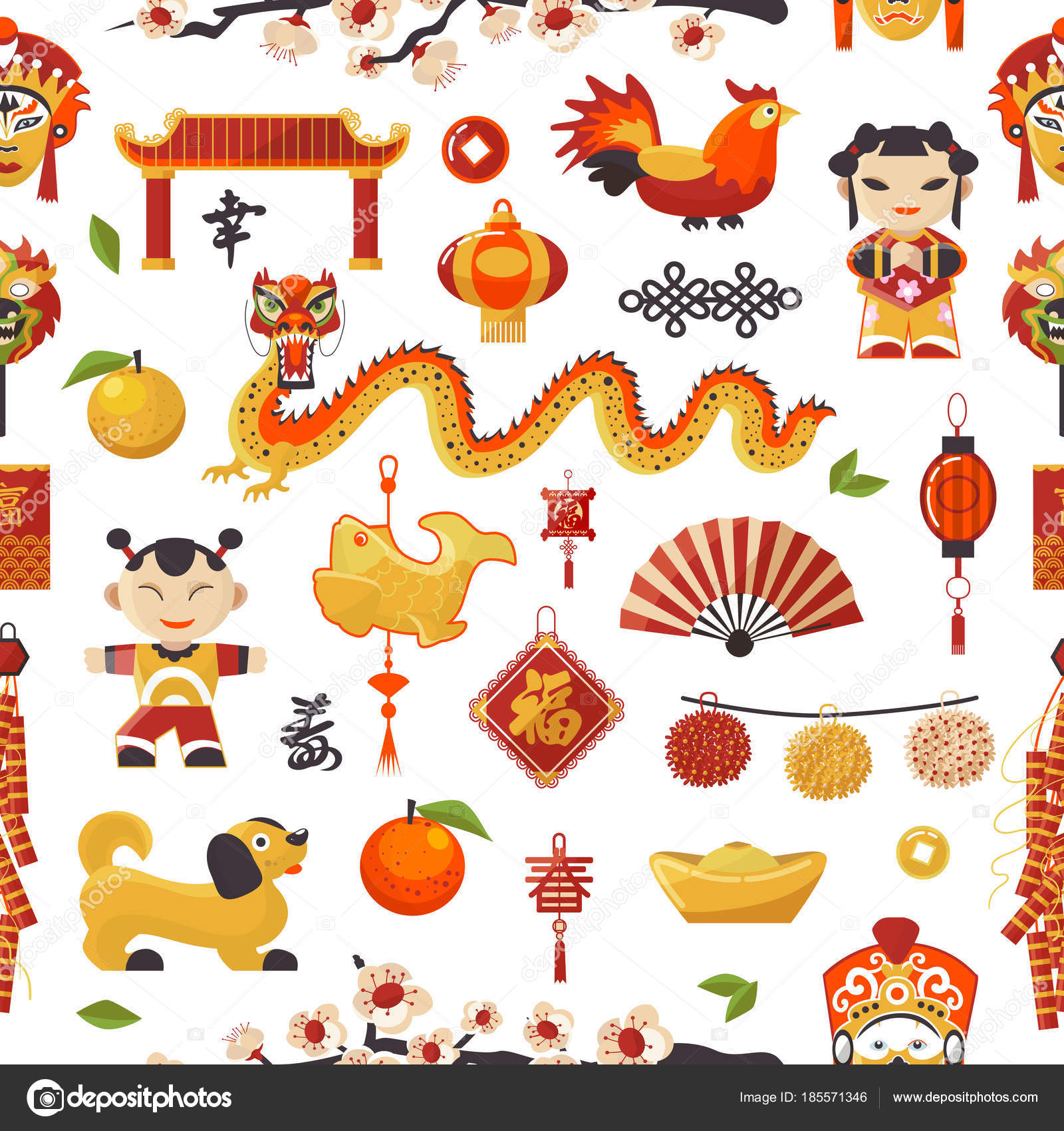 chinese traditional symbols and objects dragon dog lighter and famous oriental culture chinese new year celebration seamless pattern background vector