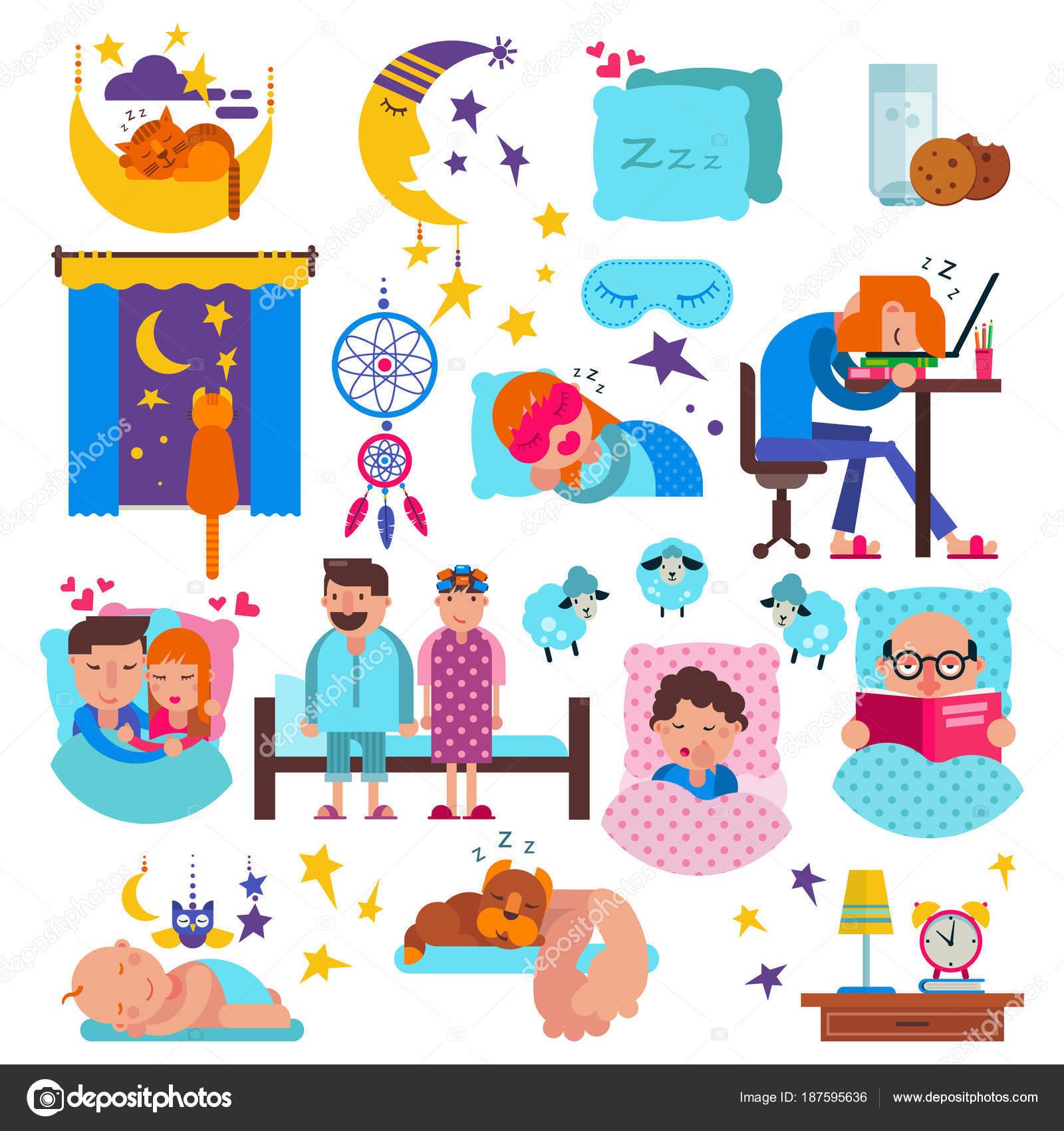 Schlafende Vektor Schlafrig Comic Figuren Und Tiere Schlafen Auf