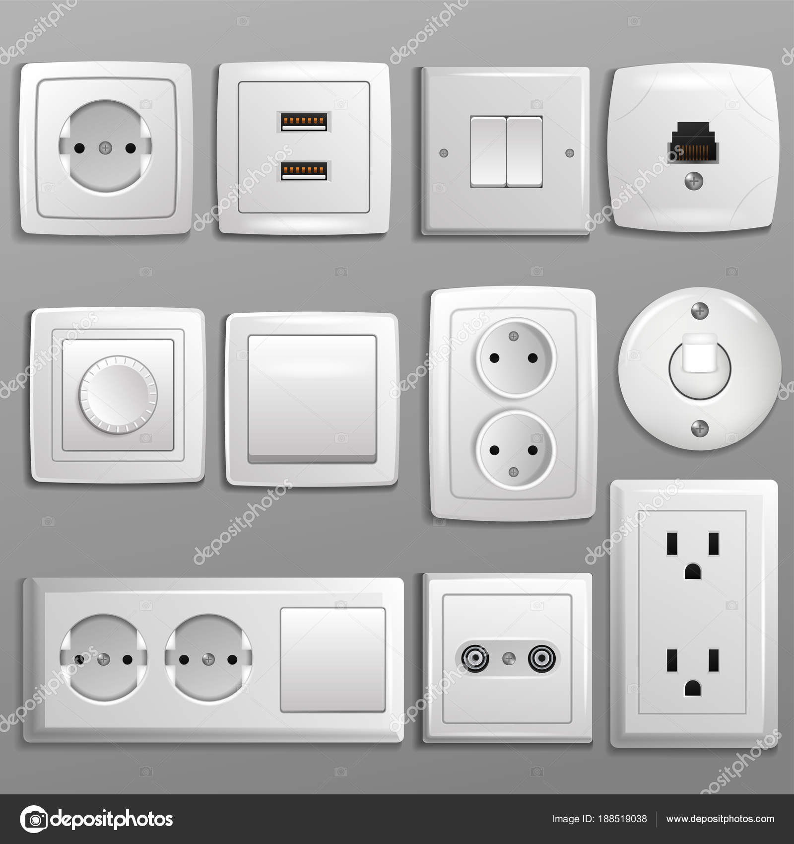 Socket and switch vector electrical outlet for electric plugs and ...