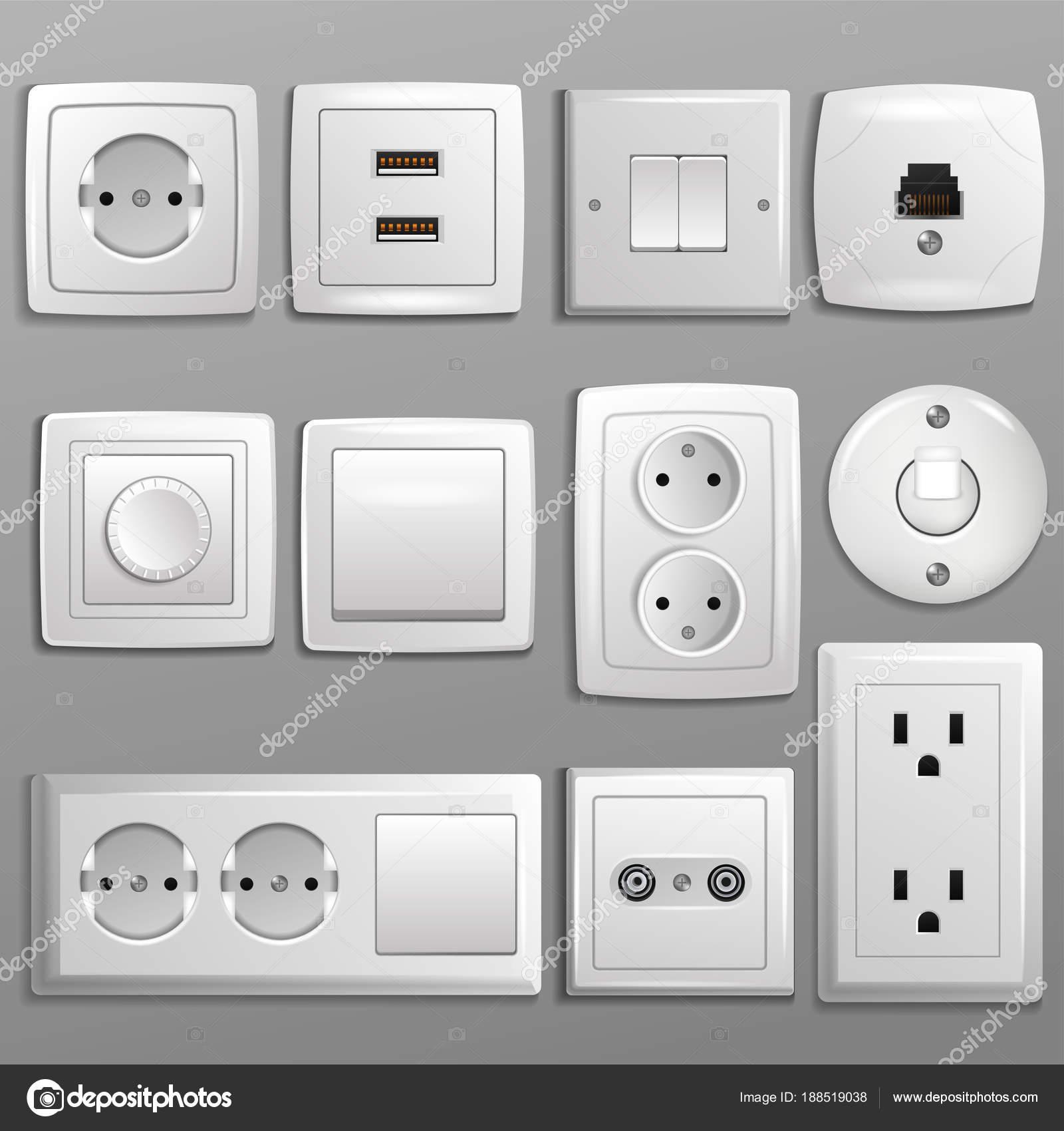 Steckdose und Schalter Vektor Steckdose für elektrische Stecker und ...