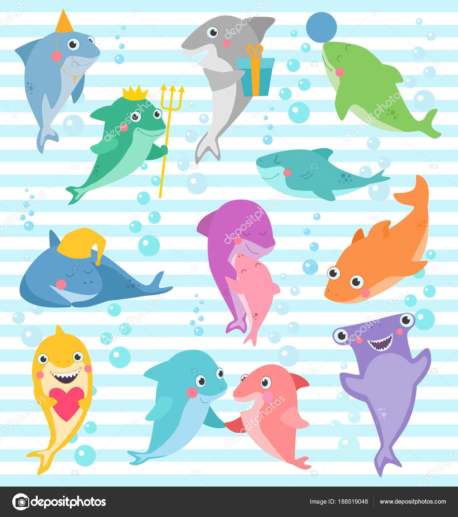 Fondo Cumpleanos Animales Marinos Tiburon Vector Dibujos Animados