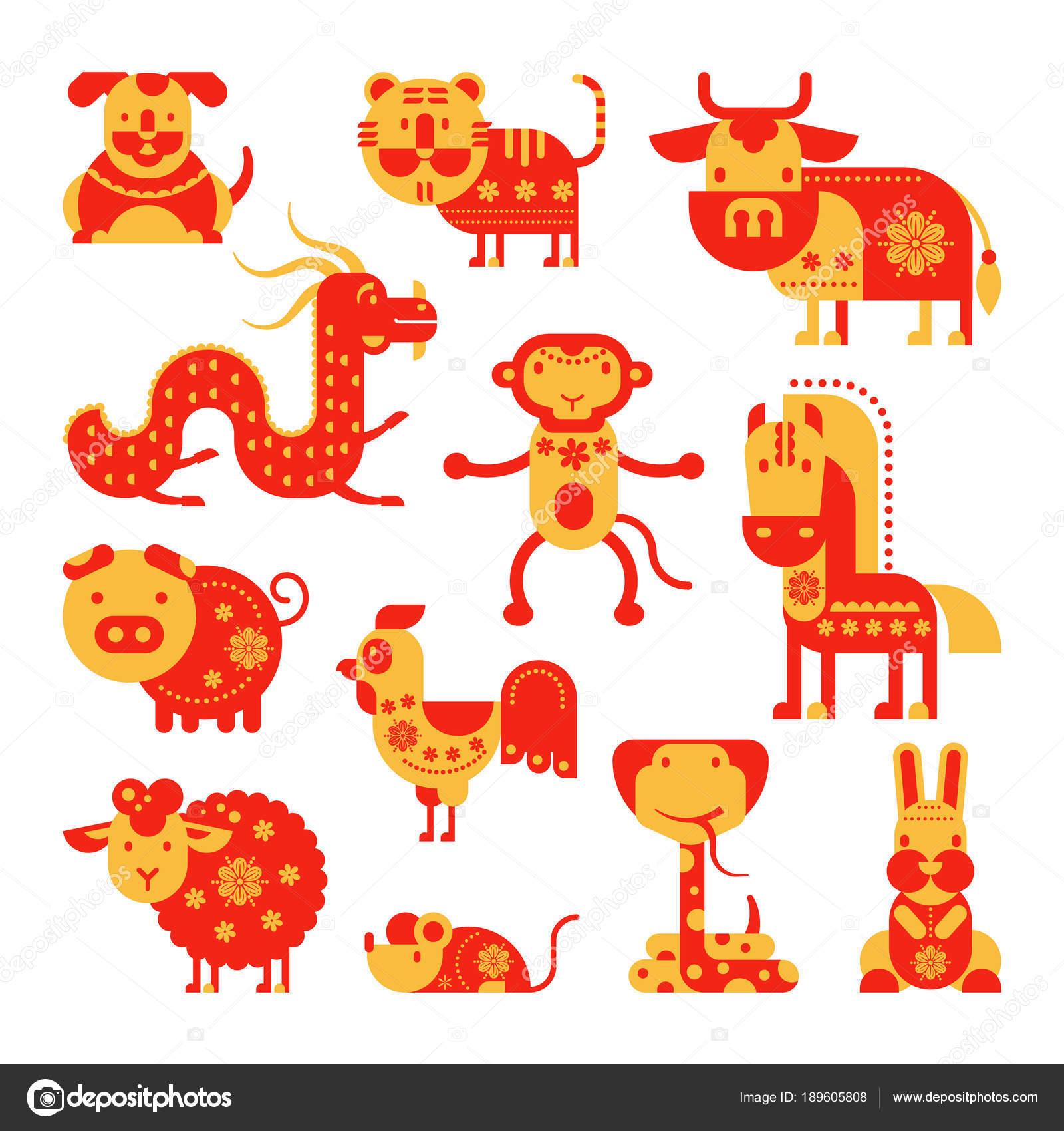 Chinese Horoscope Vector Horoscopy Animal Symbol Of Astrological