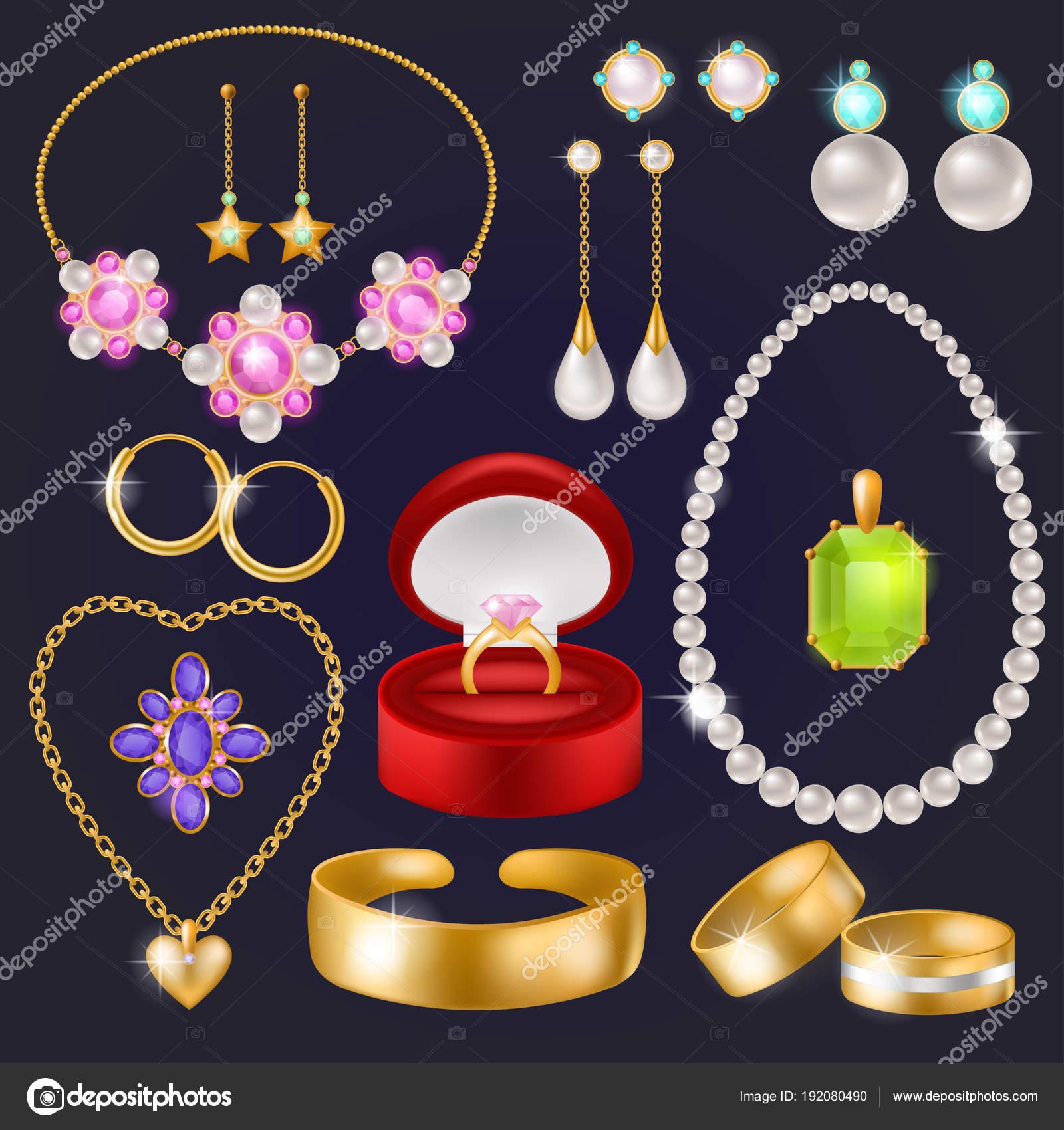 1d0fb3de8e41 Joyas vector joyería oro pulsera collar aretes y anillos de plata con  diamantes conjunto ilustración de
