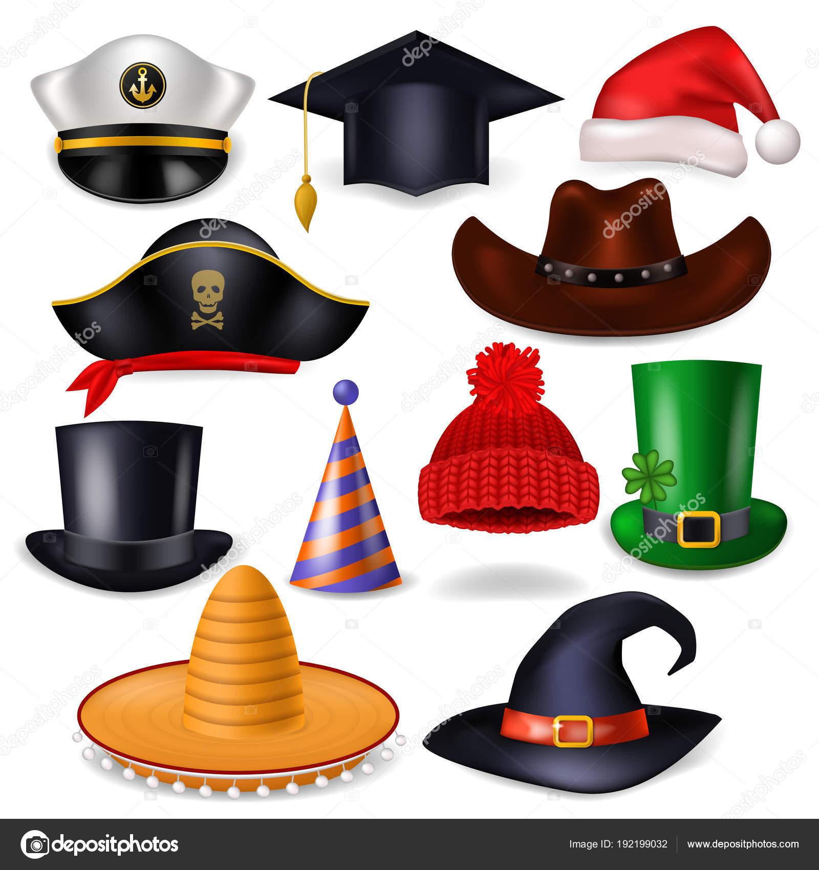 Dibujos animados sombrero vector comic cap para celebrar fiesta de  cumpleaños o Chrisrmas con sombrero santahat o pirata ilustración conjunto  de vaquero ... 0c305c6cca2
