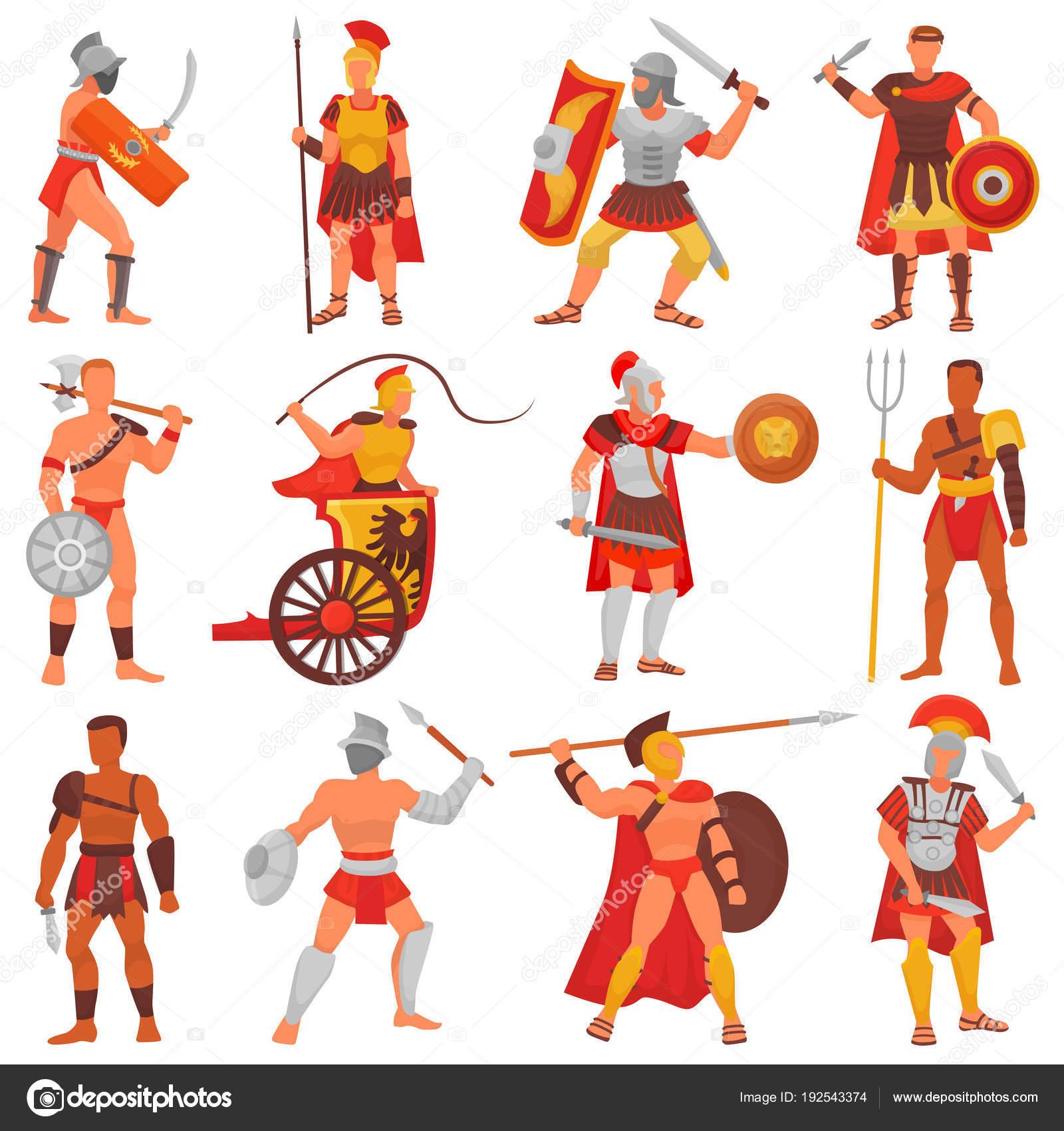グラディエーター剣や武器とアーマーでローマ戦士の文字をベクトルし