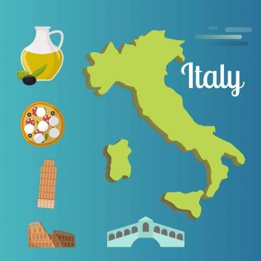 Italy travel map vector attraction tourist symbols sightseeing world italian architecture elements illustration.