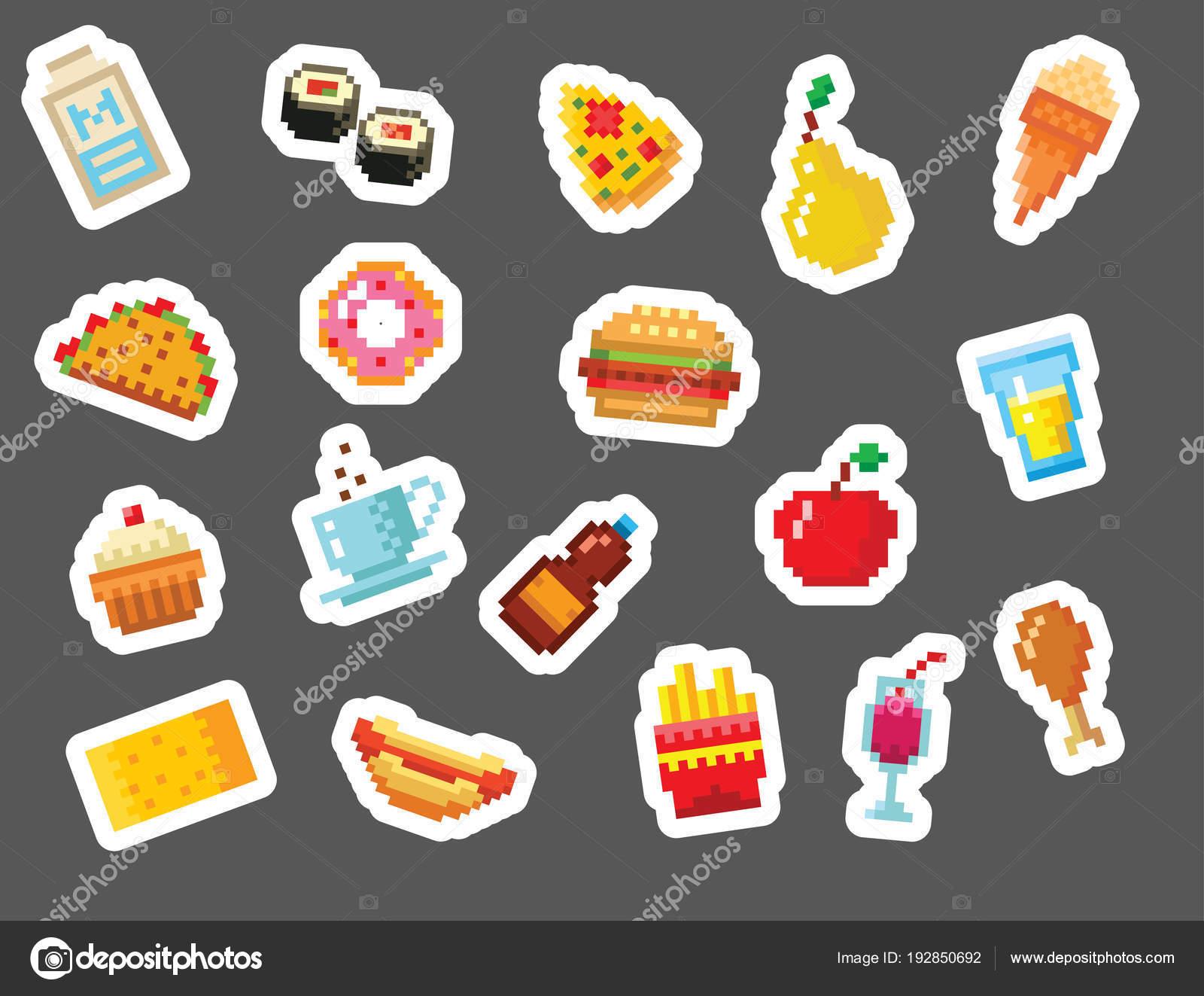 Icônes Du Design Pixel Art Alimentation Ordinateur Vector