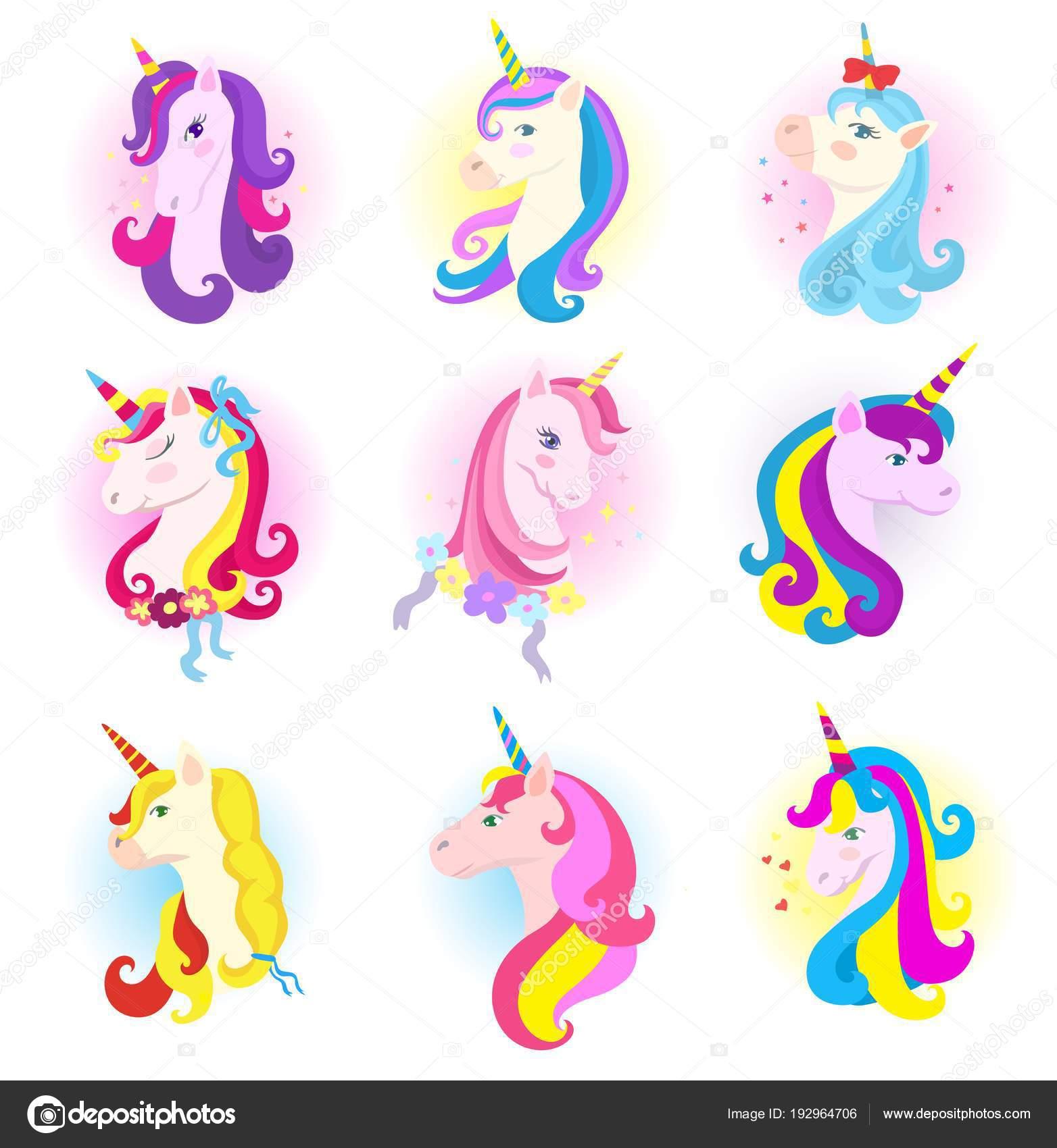 子供の魔法のホーンと虹のたてがみのユニコーン ベクター アニメ馬