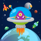 Photo Alien one eyed monster flying in space in spaceship vector illustration. Cartoon cute monstrous character in cosmos kids halloween design. Ufo, planets, stars, satellites.