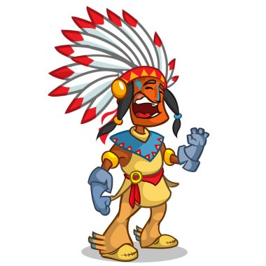 A happy cartoon Native American standing and smiling