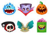 Halloween characters icon set. Cartoon head avatars of pumpkin Jack o lntern, zombie, vampire, skull, bat and furry monster.