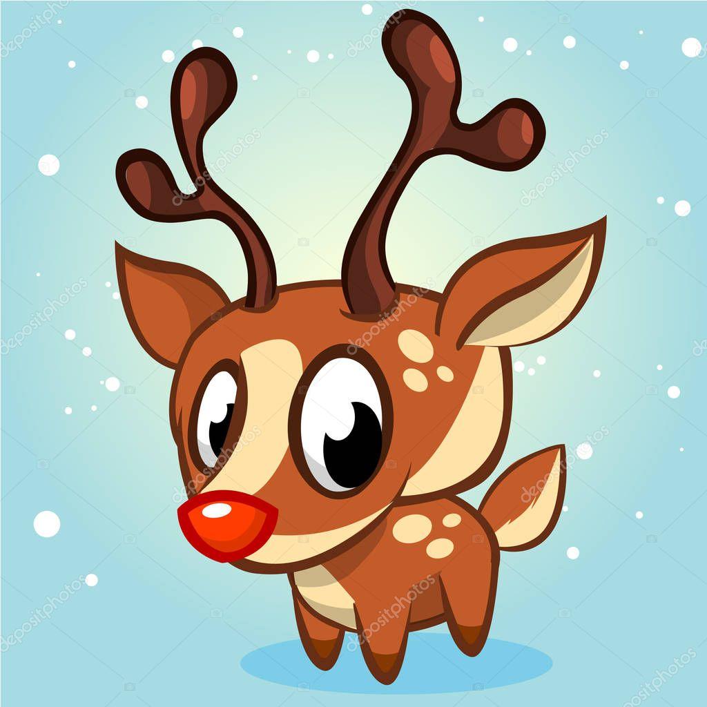 Söta jul renar vektor illustration på vit bakgrund — Stock ...