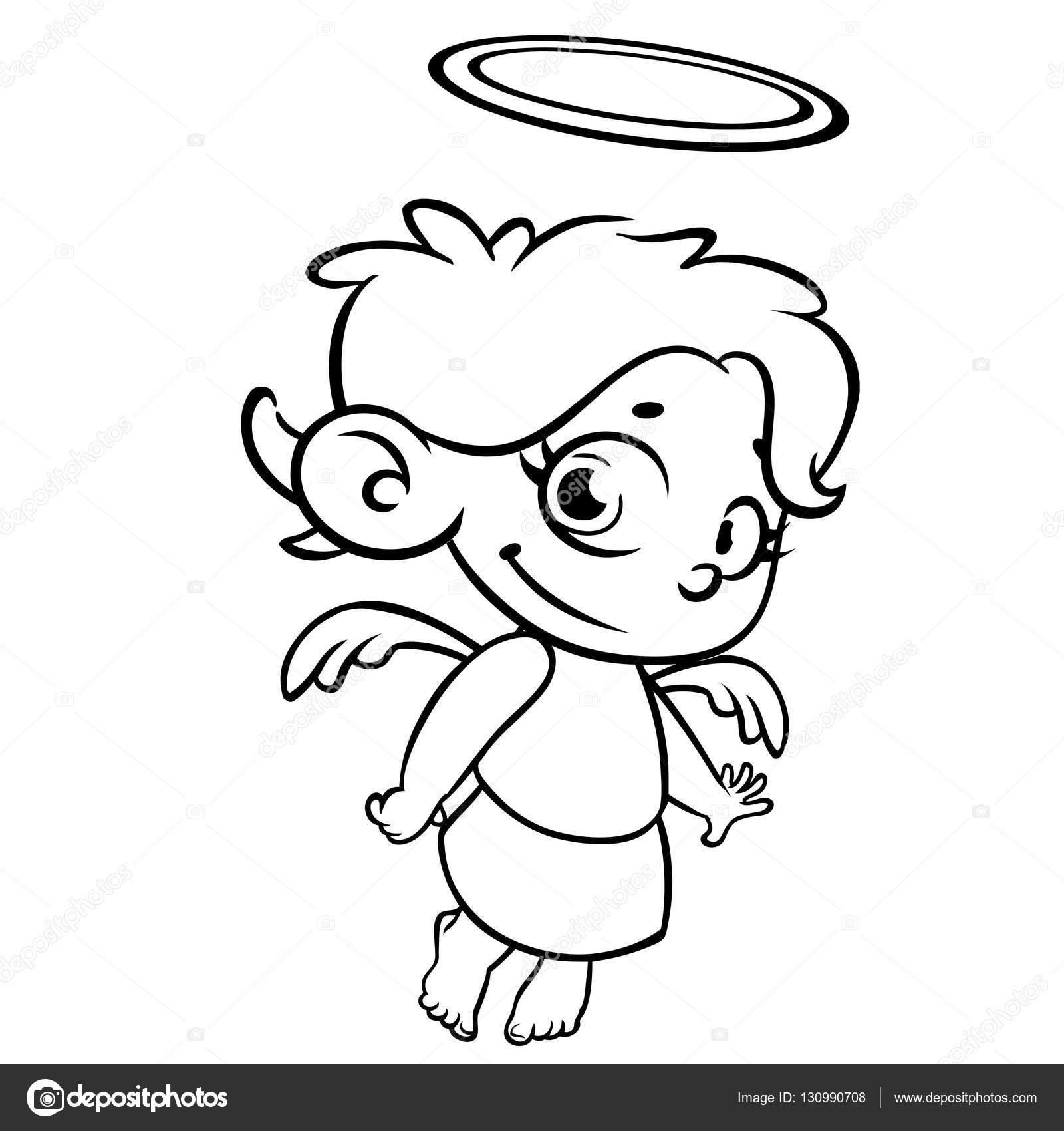 Outlined Christmas angel. Coloring page — Stock Vector © drawkman ...