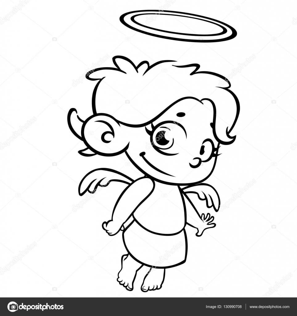 esbozó el ángel de la Navidad. Página para colorear — Archivo ...