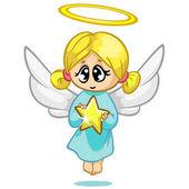 Vektorové ilustrace roztomilé vánoční létající anděl znak