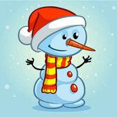 Vánoční sněhulák s Santa čepice a pruhovanou šálu, izolované na zasněžené pozadí. Vektorové ilustrace