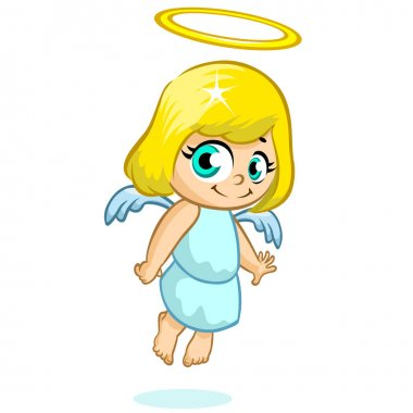 Vector illustration cute Christmas angel character
