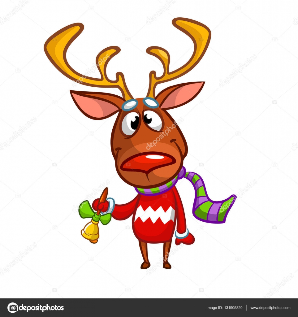 a311331f5f9ea Christmas reindeer in Santa hat ringing a bell. Vector illustration  isolated — Stock Vector