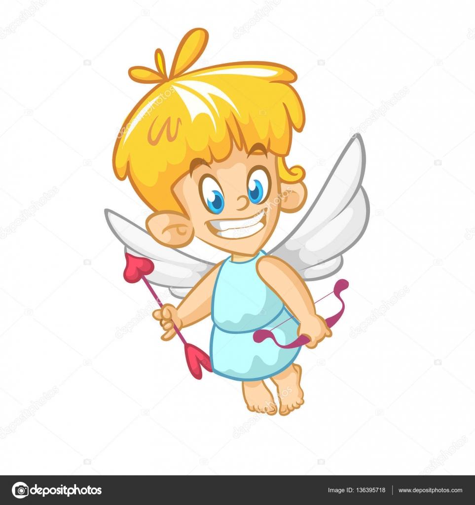 Personaje De Dibujos Animados Gracioso Cupido Con Arco Y Flecha